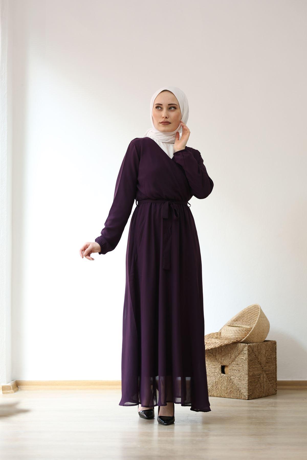 Kruvaze Şifon Tesettür Elbise - MÜRDÜM