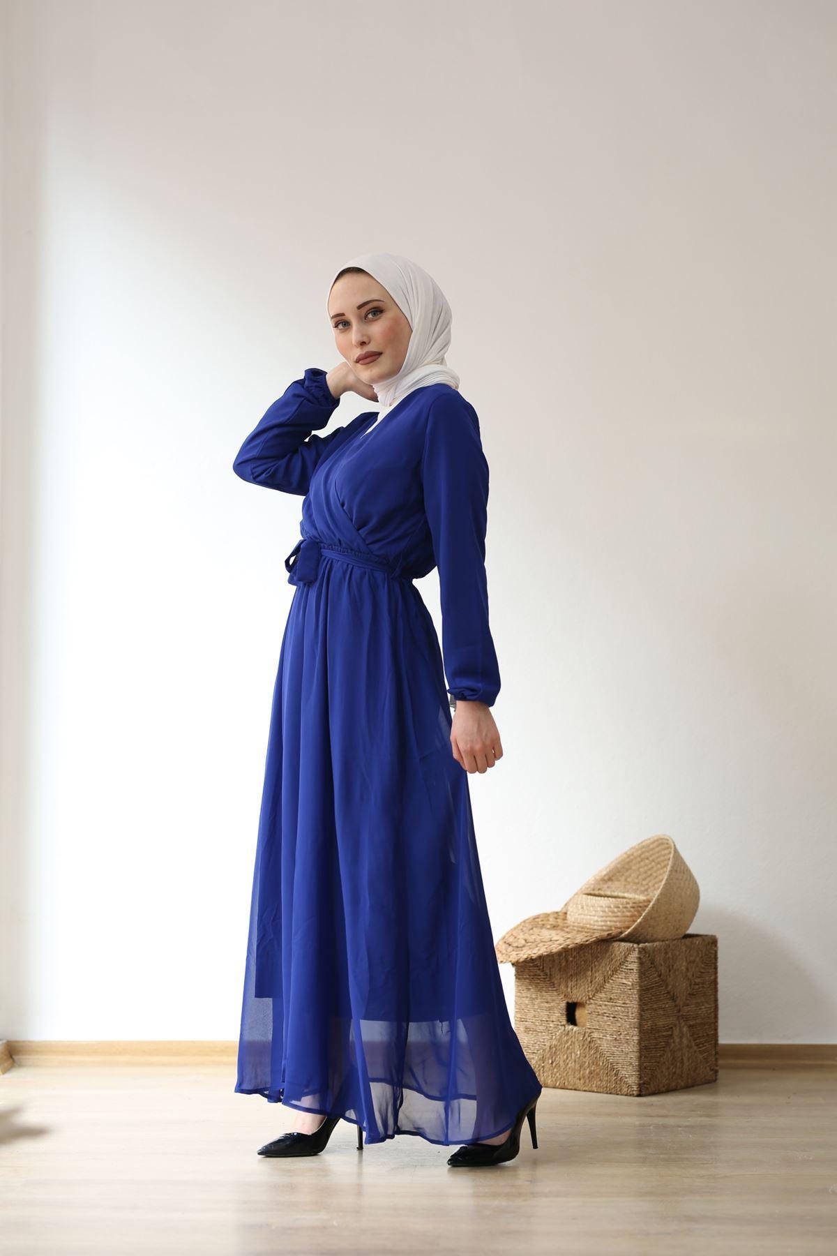 Kruvaze Şifon Tesettür Elbise - SAKS