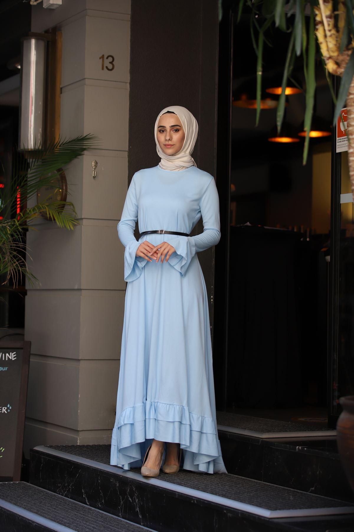 Fırfır Kuyruklu Tesettür  Elbise - Bebe Mavisi