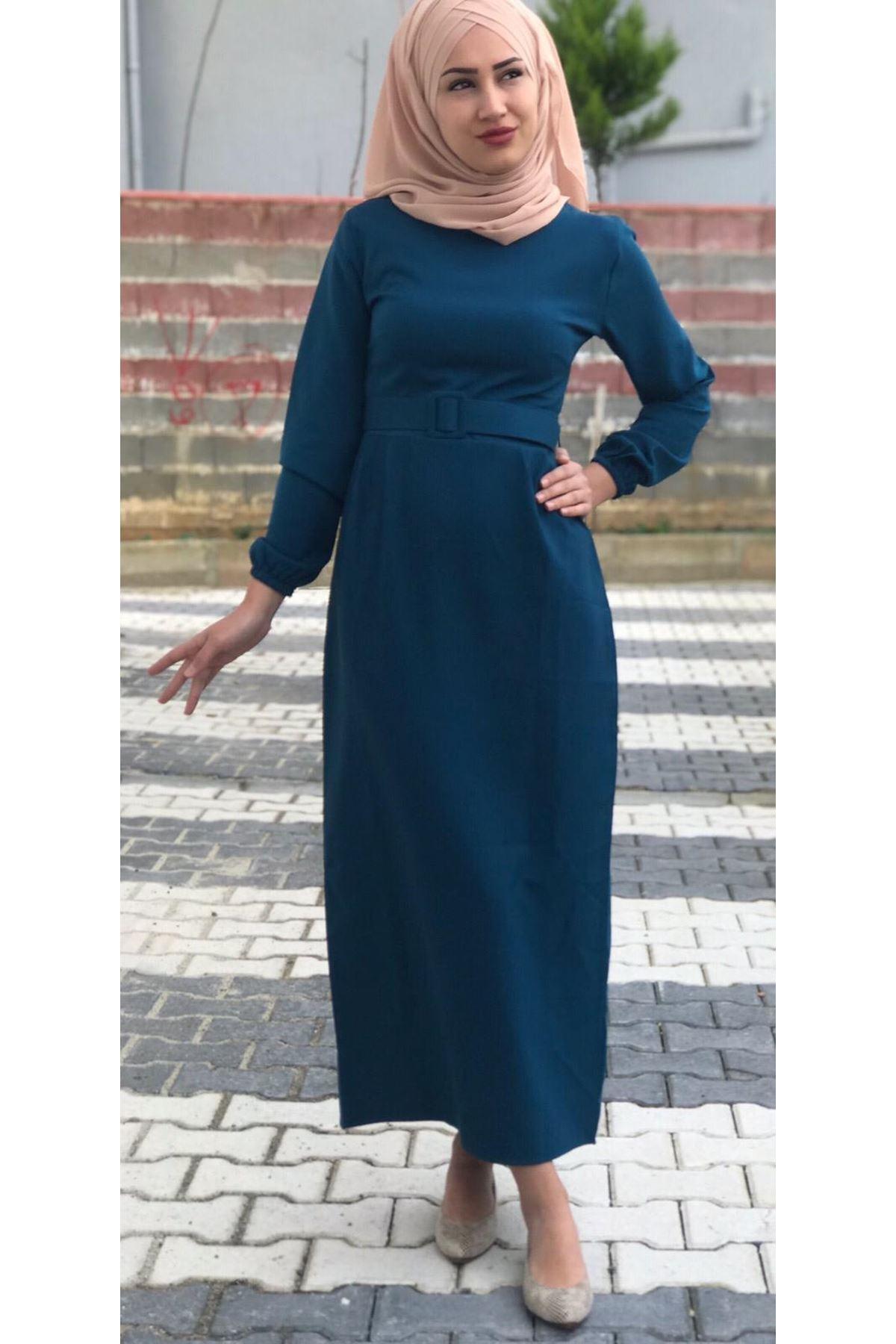 Kemerli Tesettür Kalem Elbise - PETROL