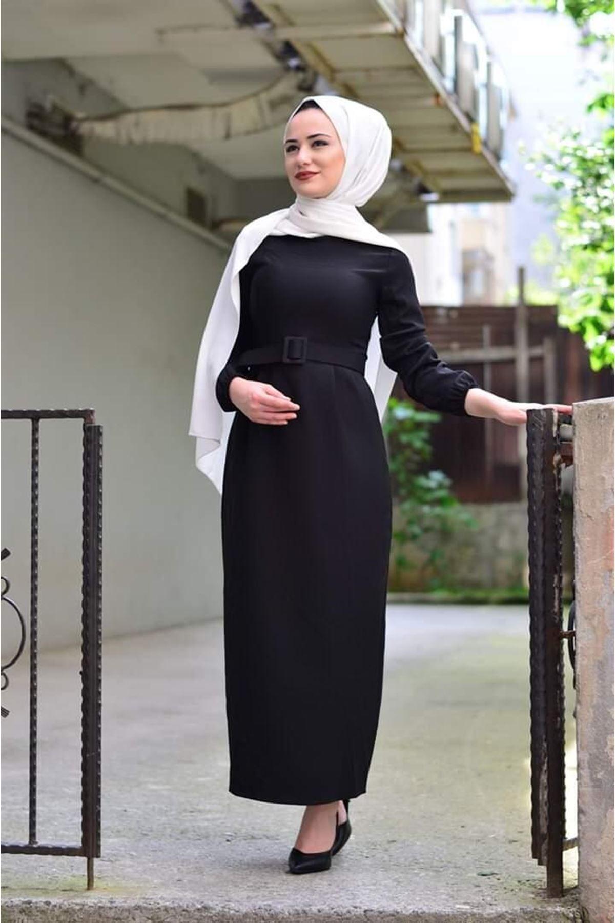 Kemerli Tesettür Kalem Elbise - SİYAH