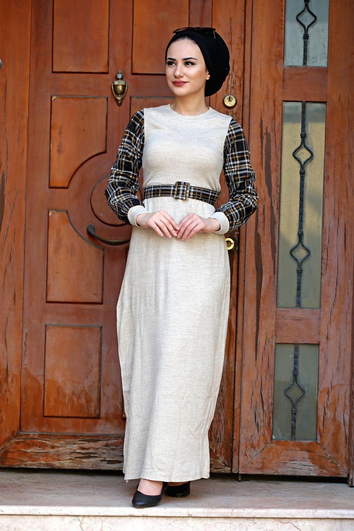 Kolları Ekoseli Kemerli Elbise - TAŞ