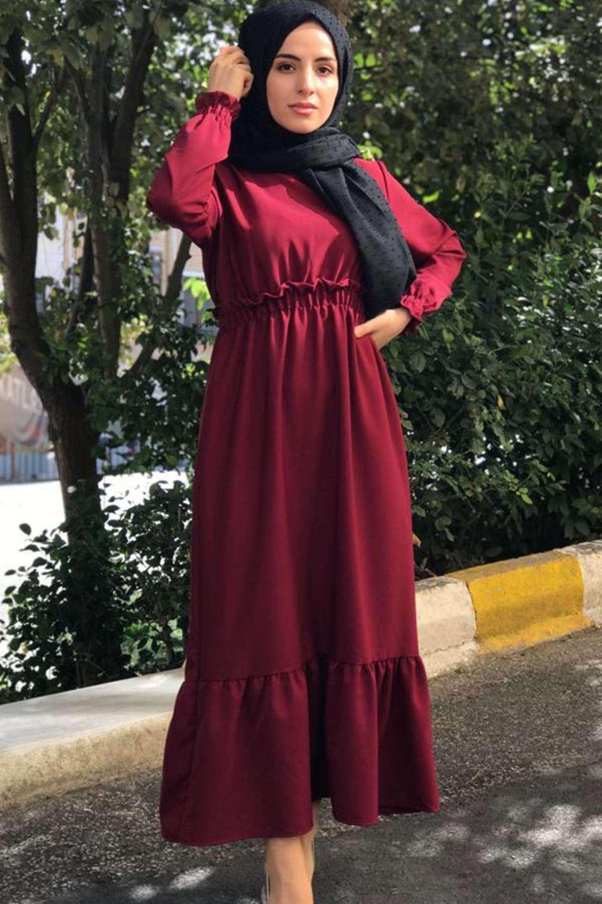 Erva Tesettür Elbise - BORDO