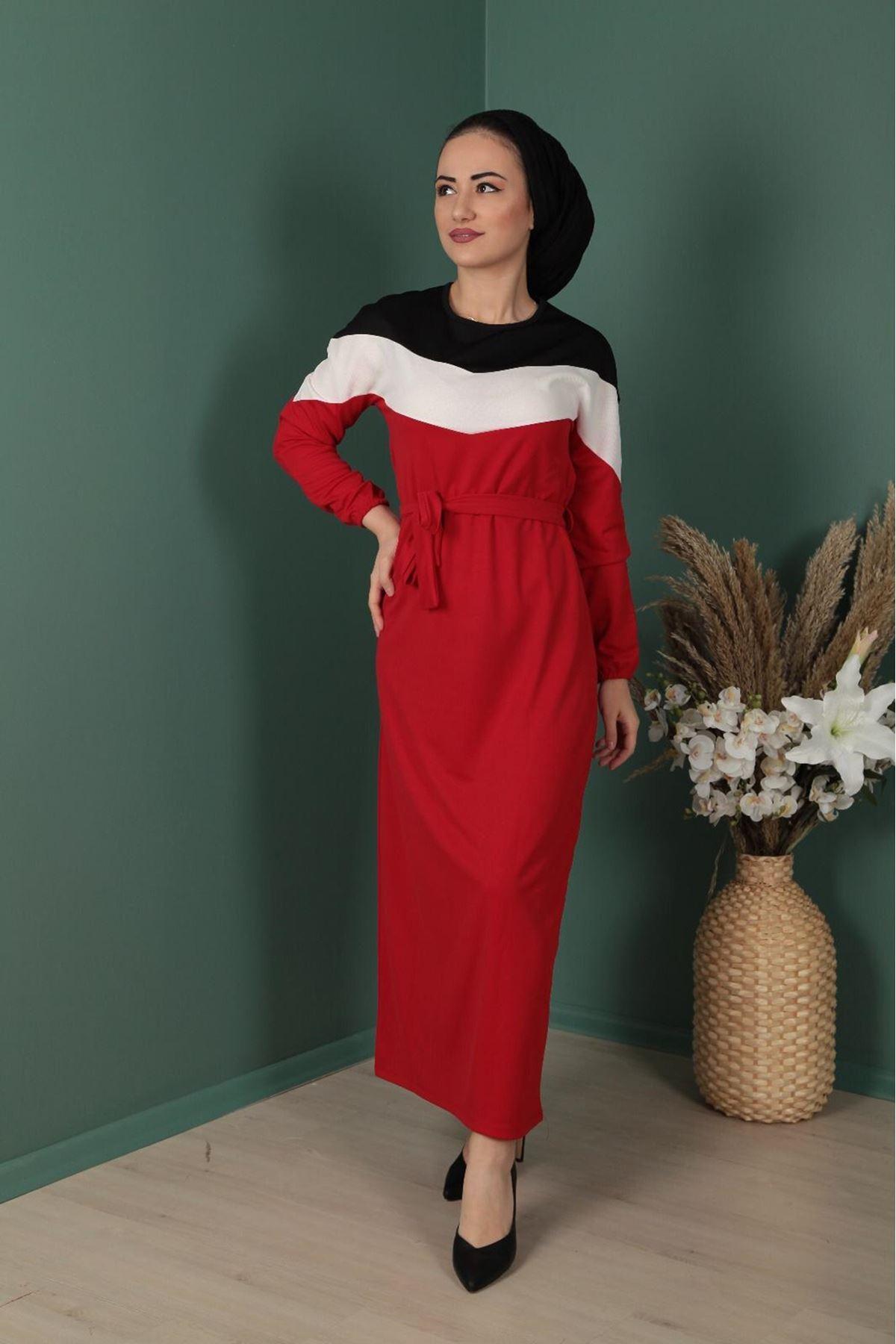 Şerit Detaylı Elbise  - KIRMIZI
