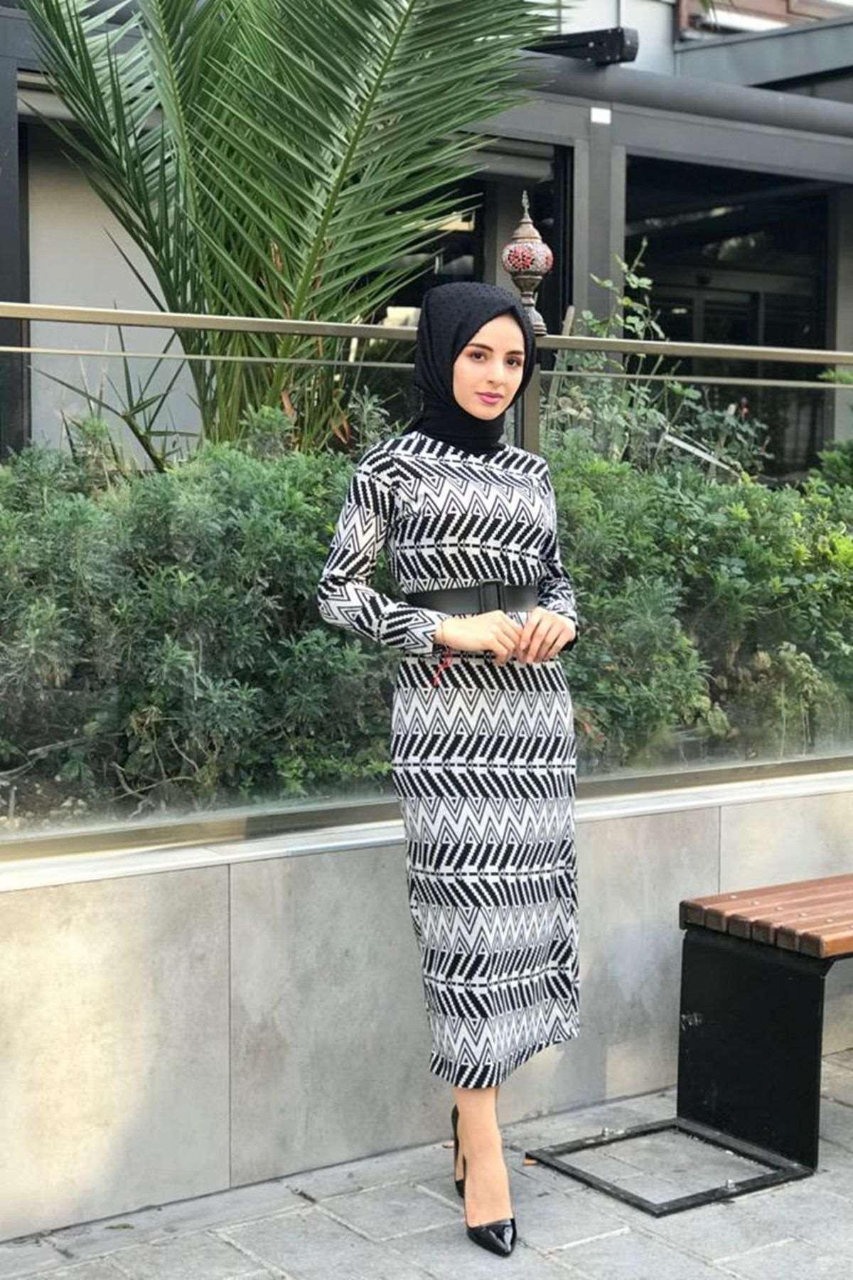 Ziga Desen Elbise - SİYAH BEYAZ