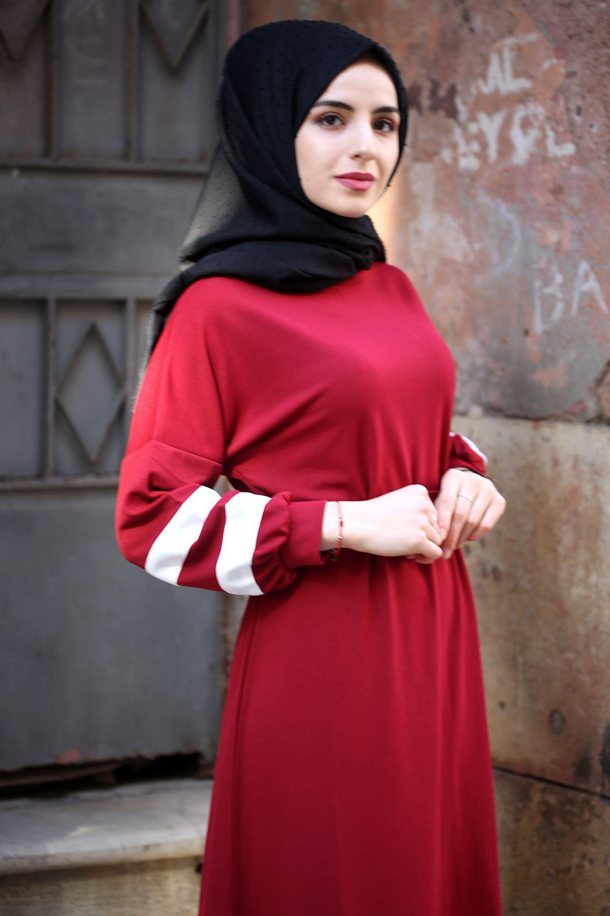 Şeritli Tesettür Elbise - Bordo