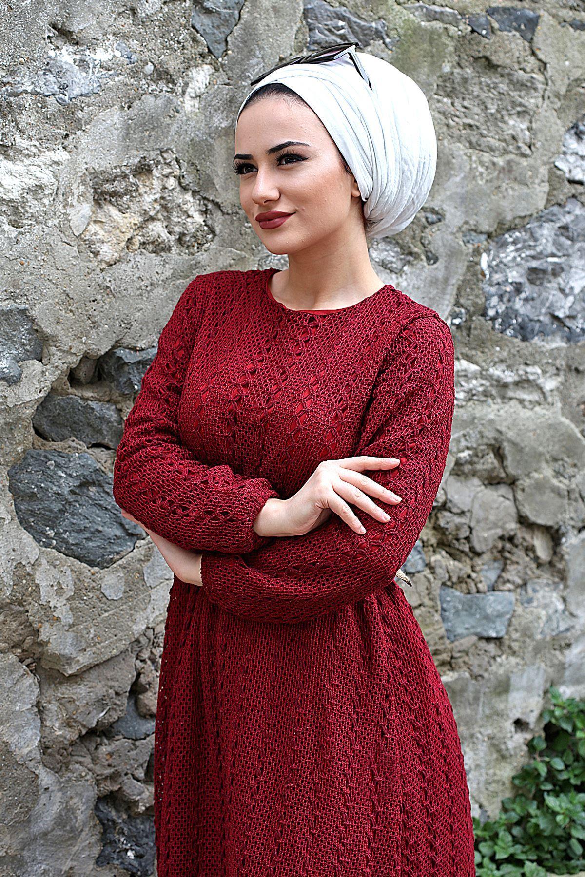 Armoni Tesettür Elbise - Bordo