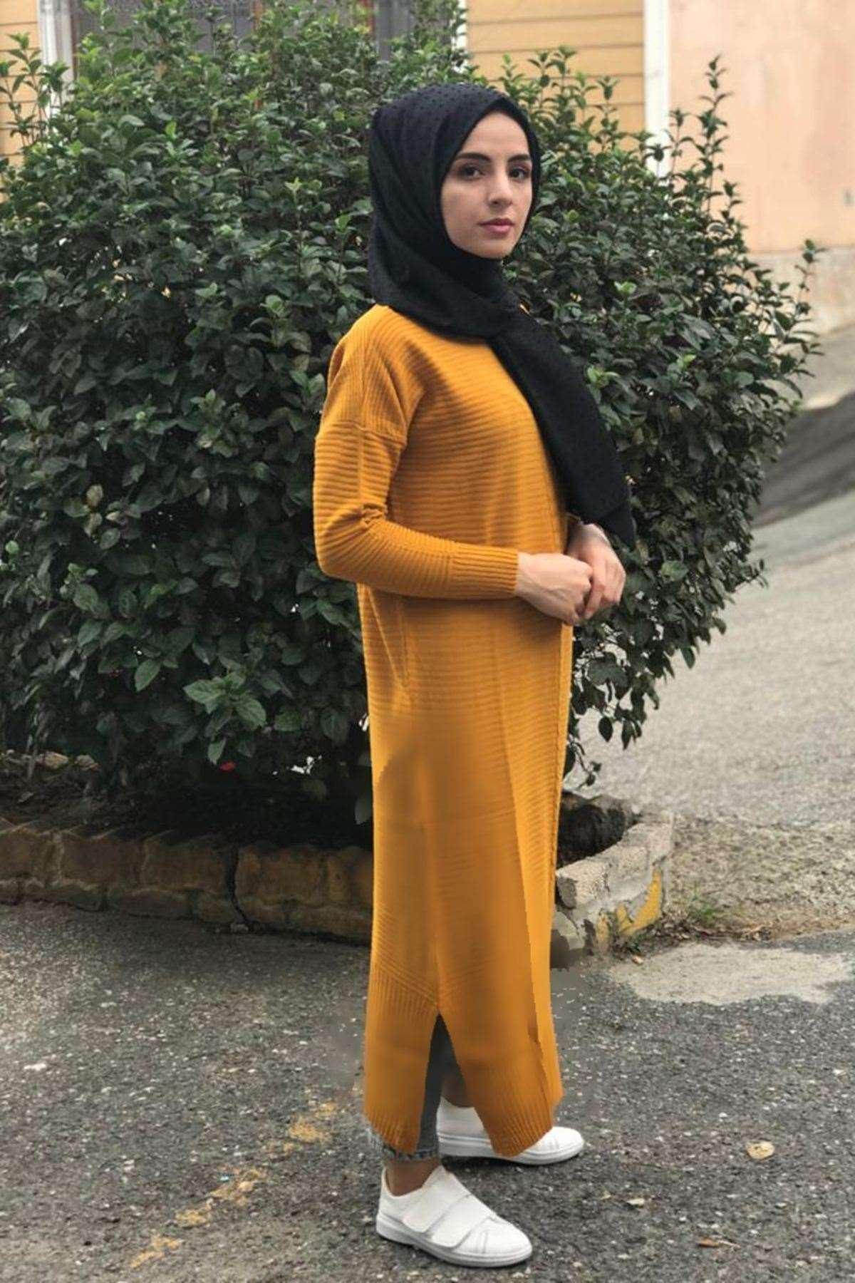 Örgü Şerit Triko Elbise - HARDAL