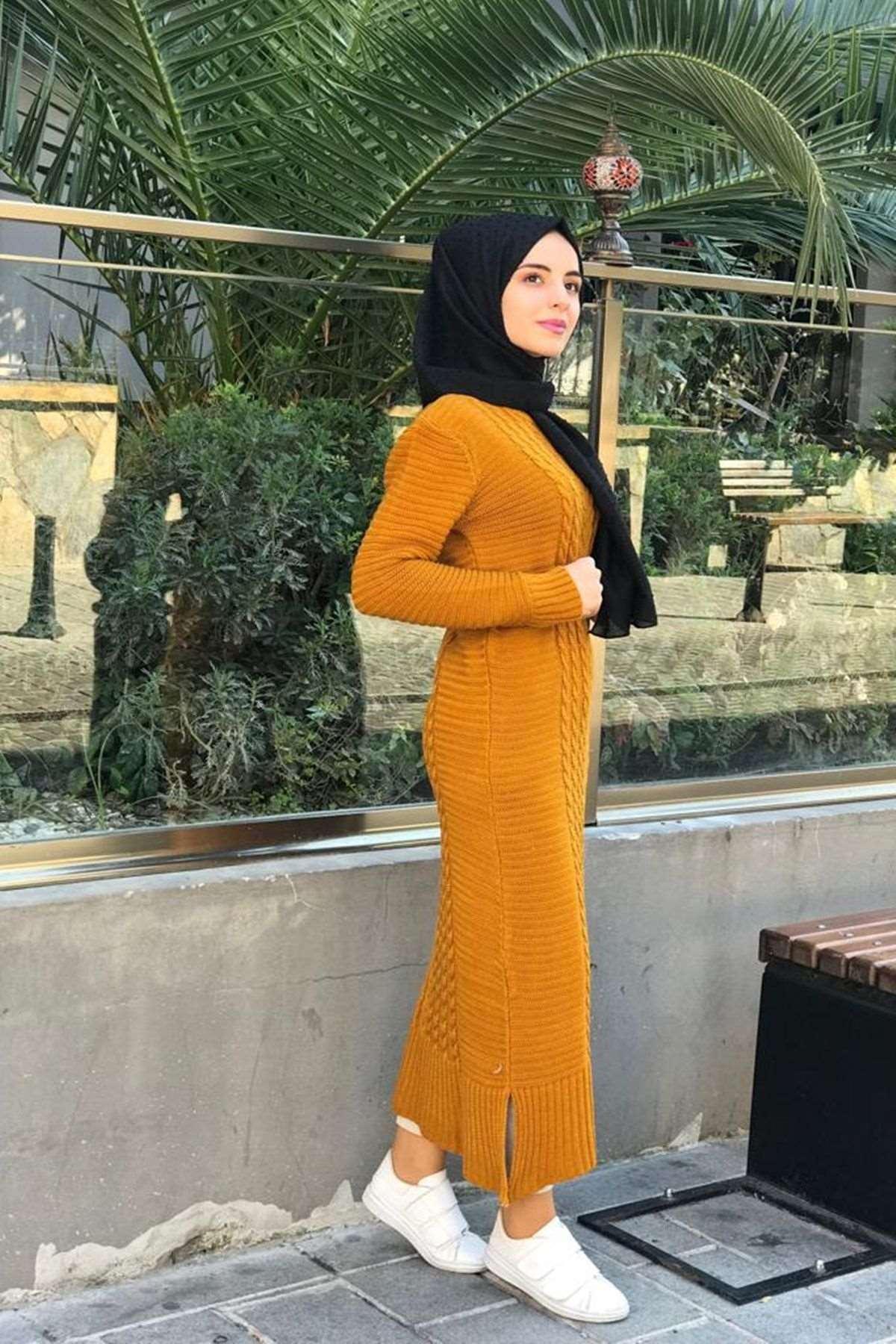Kafes Örgülü Triko Elbise - HARDAL