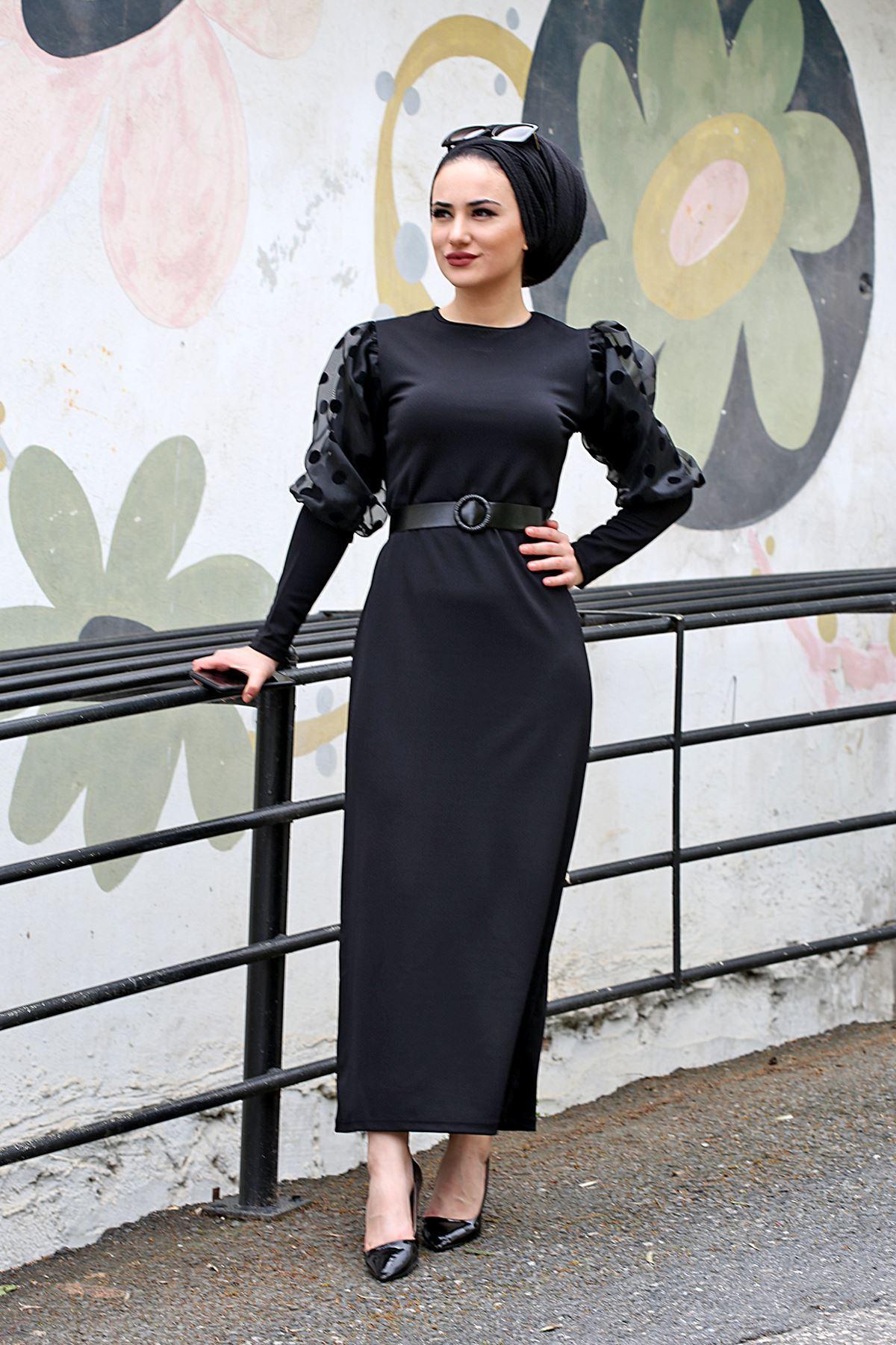 Scuba Puantiyeli Balon Kol Elbise - Siyah