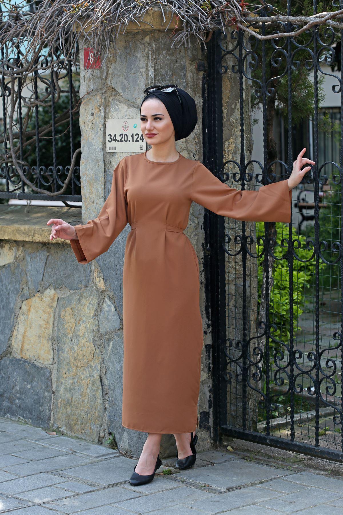 Bel Bağlamalı Kalem Elbise - Kahverengi