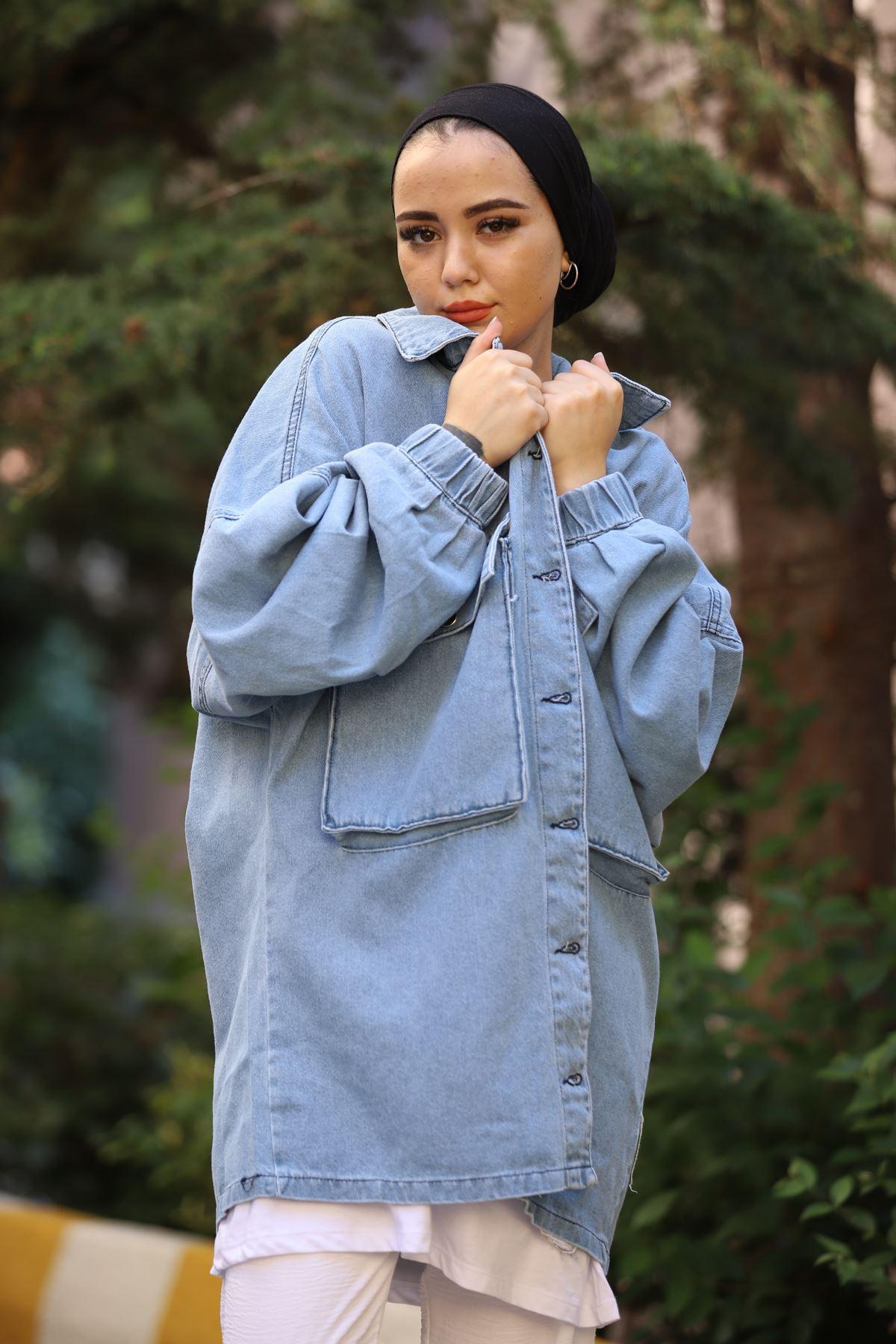 Torba Cepli Kot Ceket - Açık Mavi
