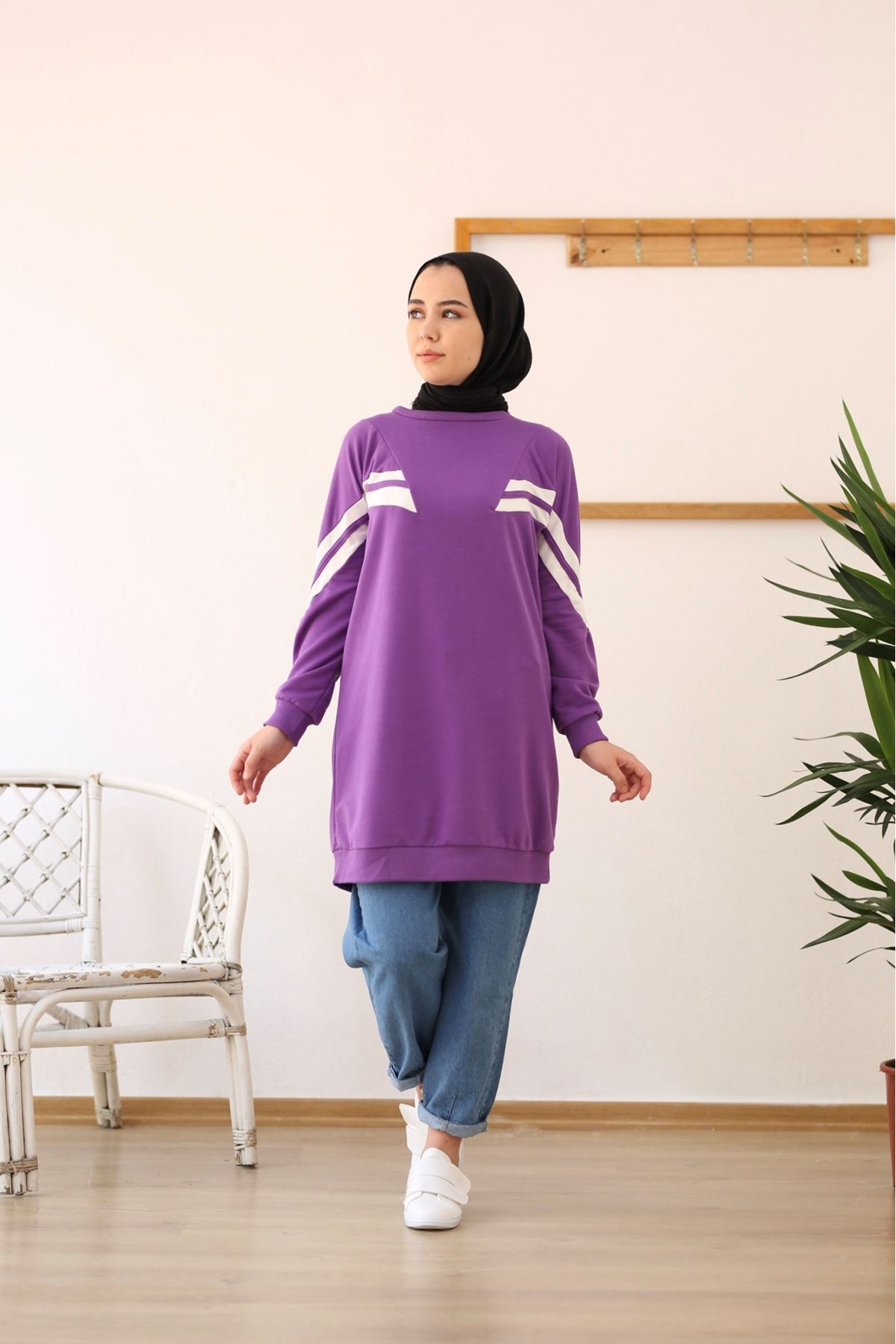 Şeritli Sweatshirt- Mor