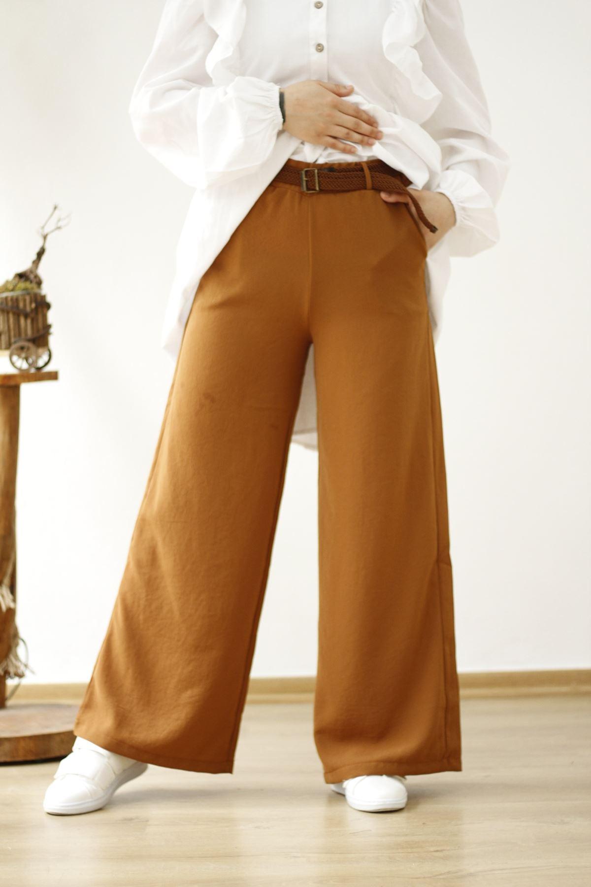 Kemerli Salaş Pantolon - Taba