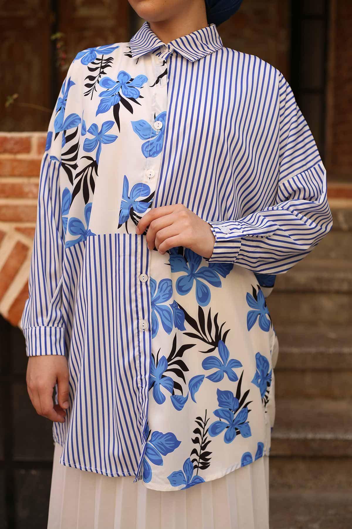 Parça Çizgili Tunik Gömlek - Mavi