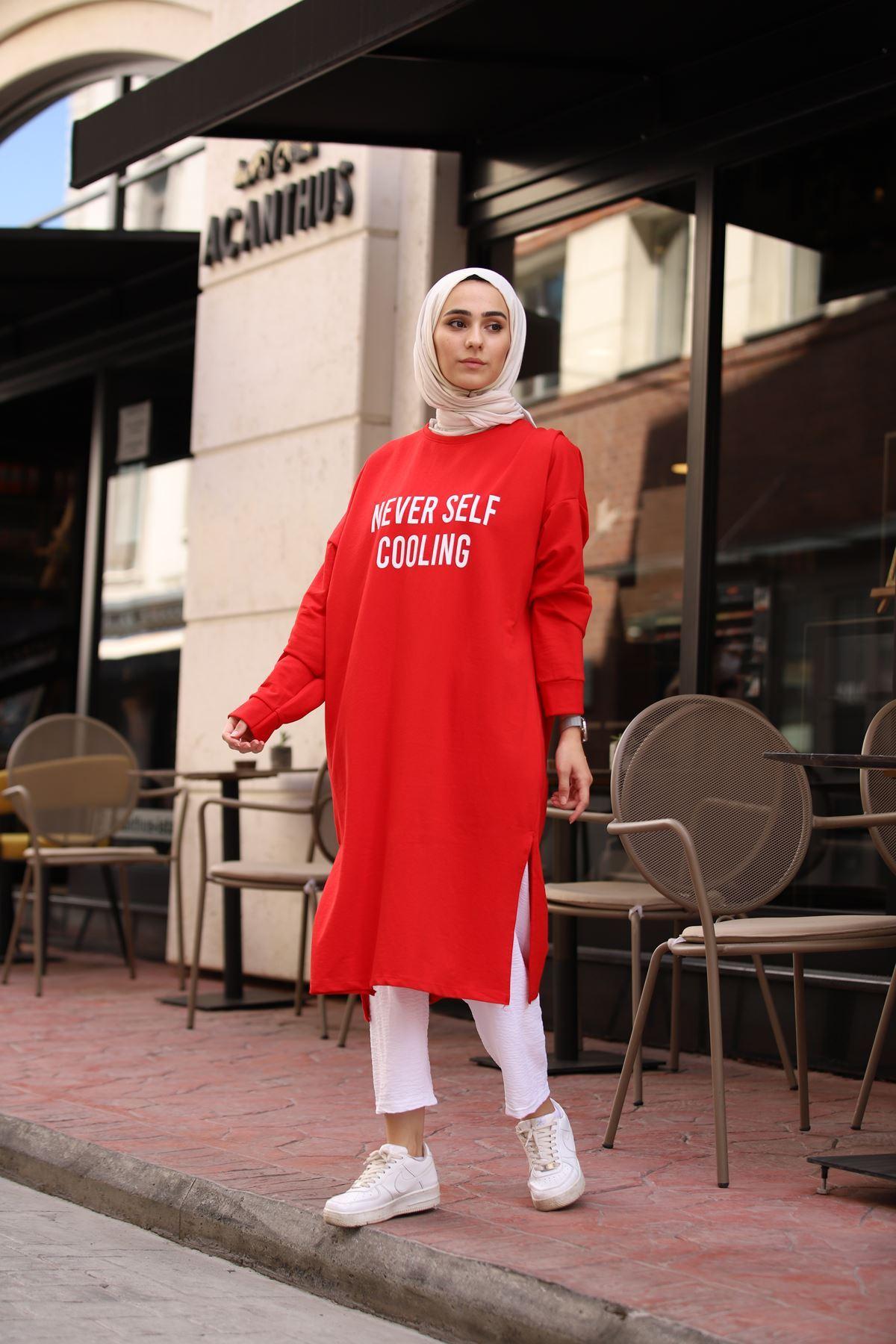 Yazı Baskılı Tunik - Kırmızı