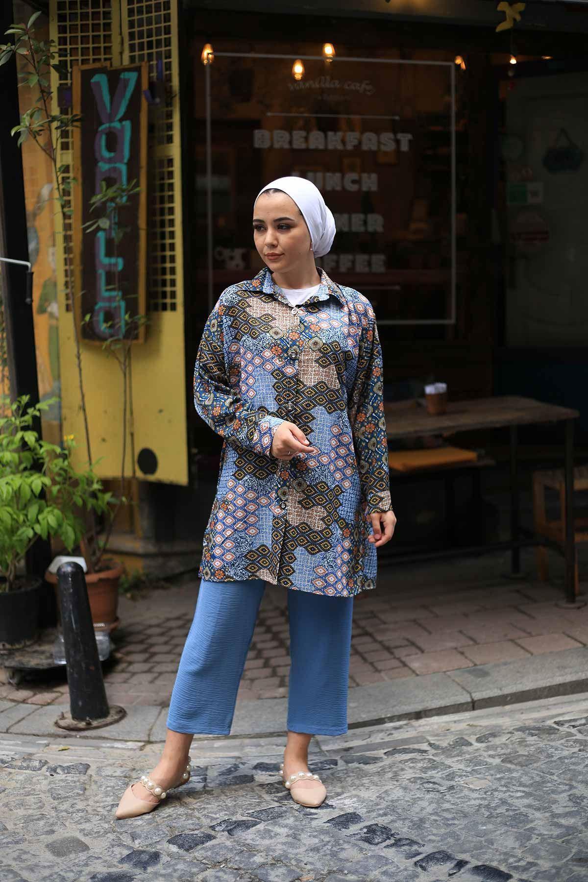 Rabia Desen Tunik Gömlek - Taba