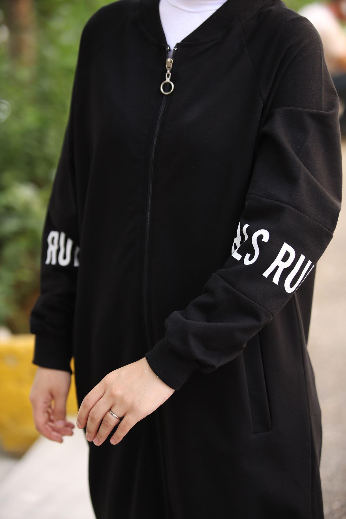 Girls Rule Fermuarlı Tunik - Siyah