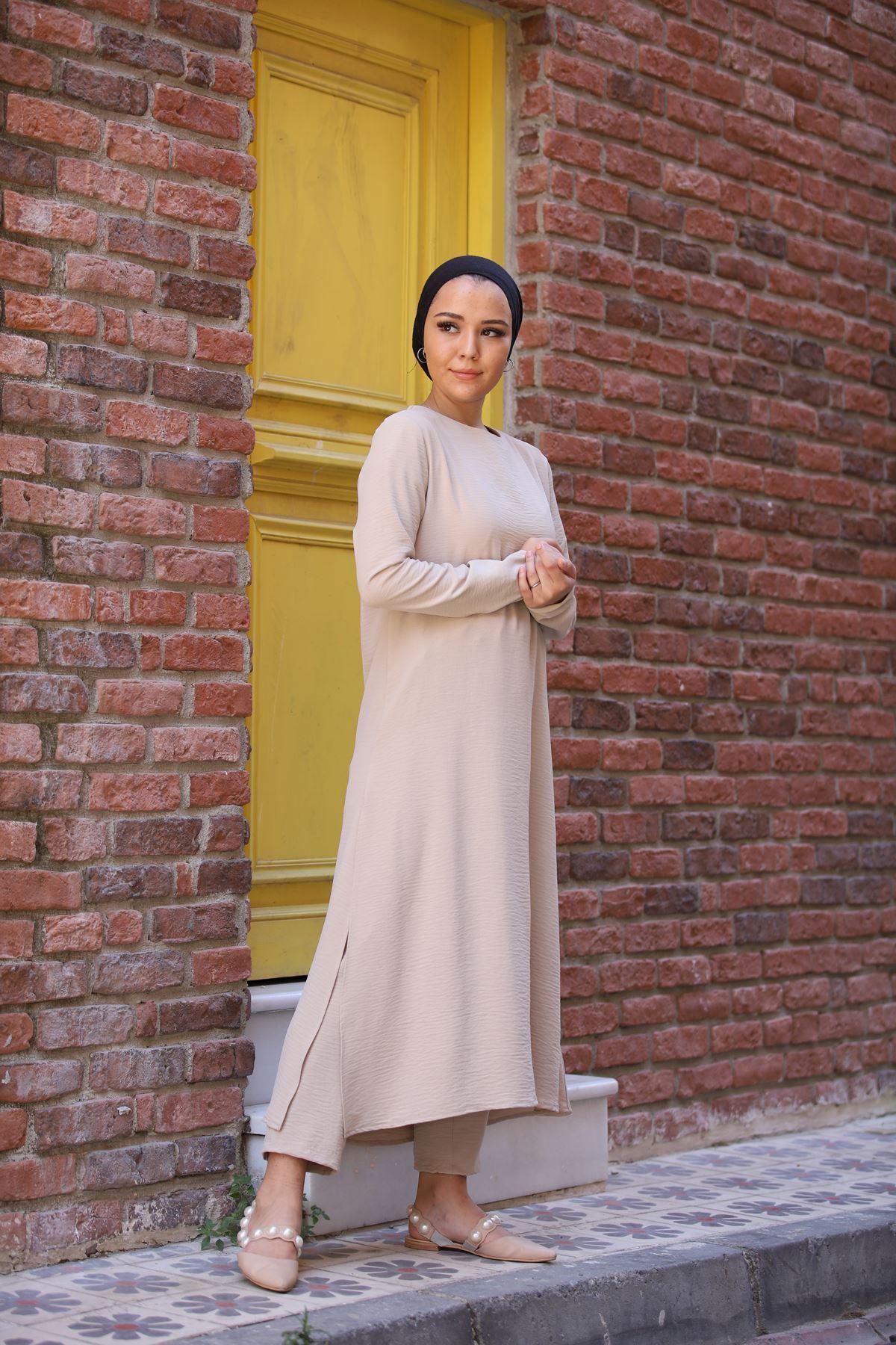 Sultan Ayrobin Tesettür Takım - Taş Rengi
