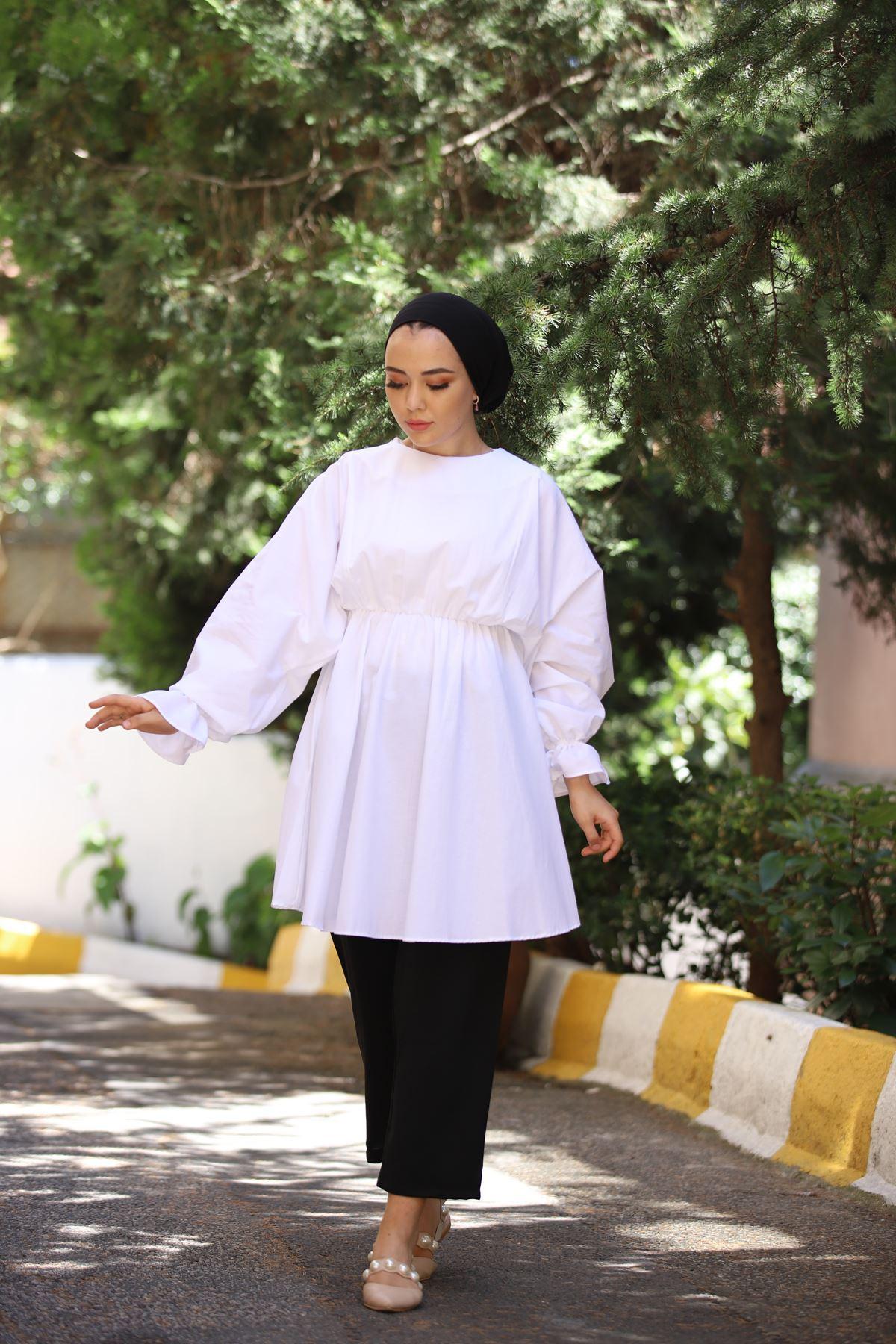 Alin Yarasa Kol Tunik Gömlek - Beyaz