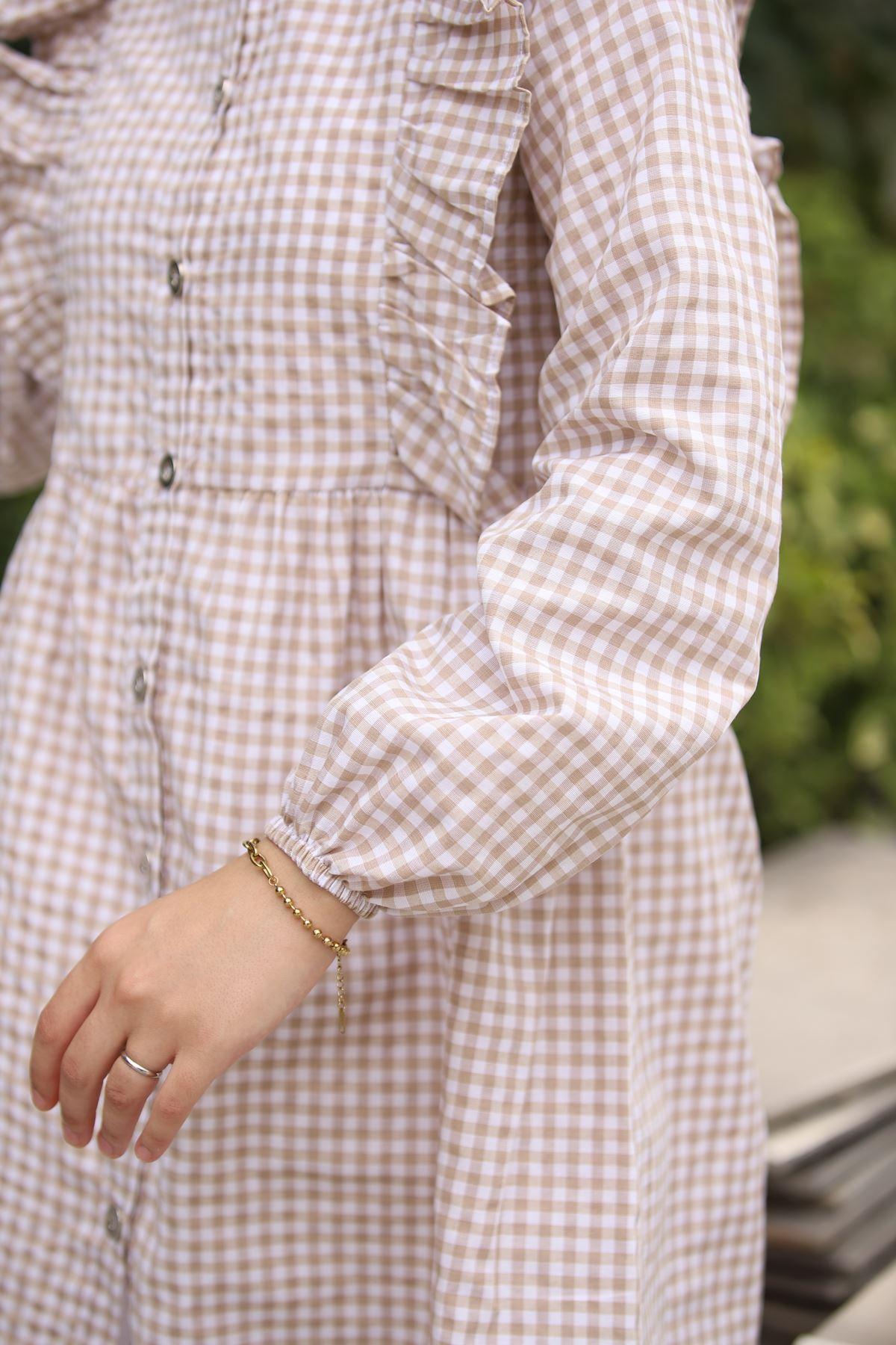 Mini Kare Tunik Gömlek - Taş
