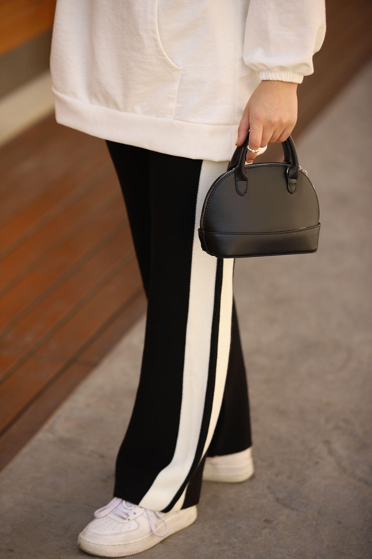 Şeritli Triko Pantolon - Siyah
