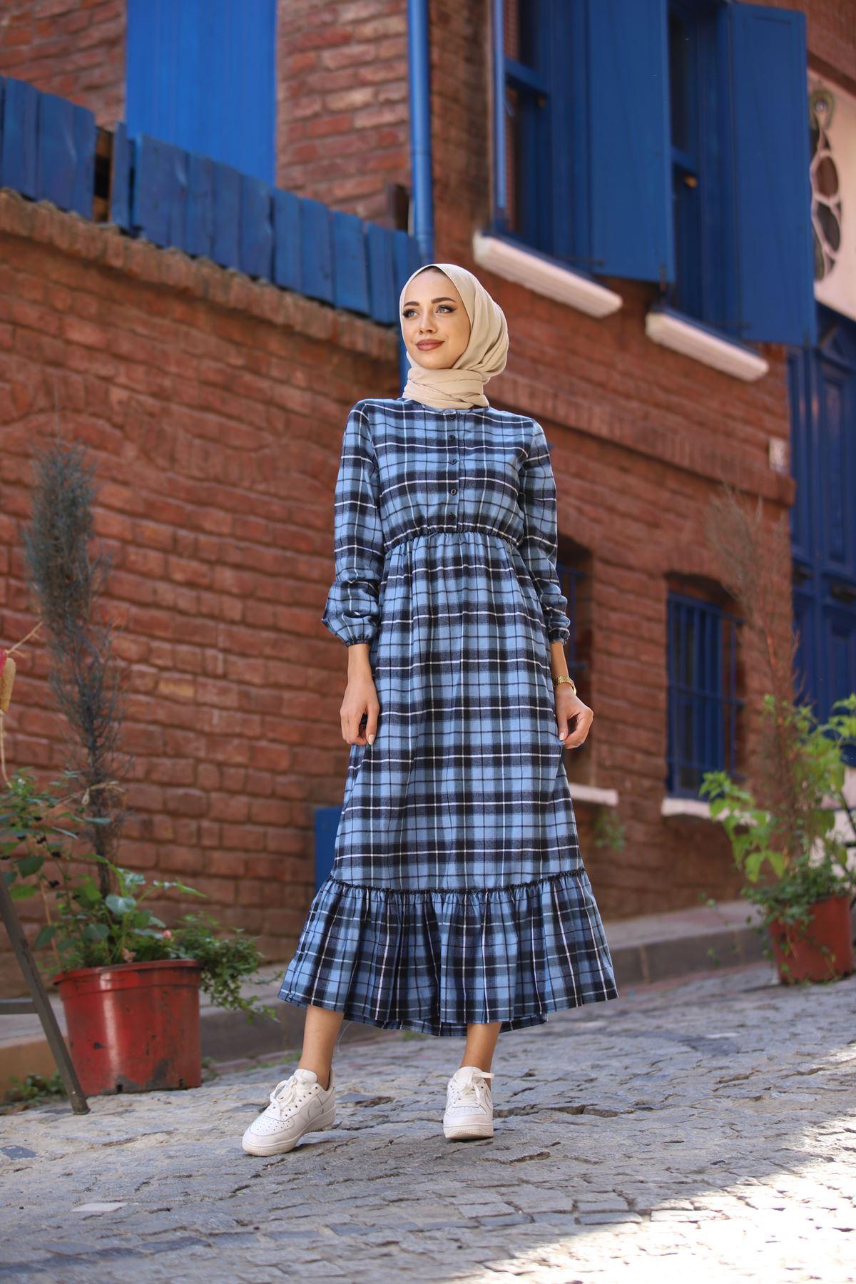 Ekose Büzgülü Elbise - Mavi