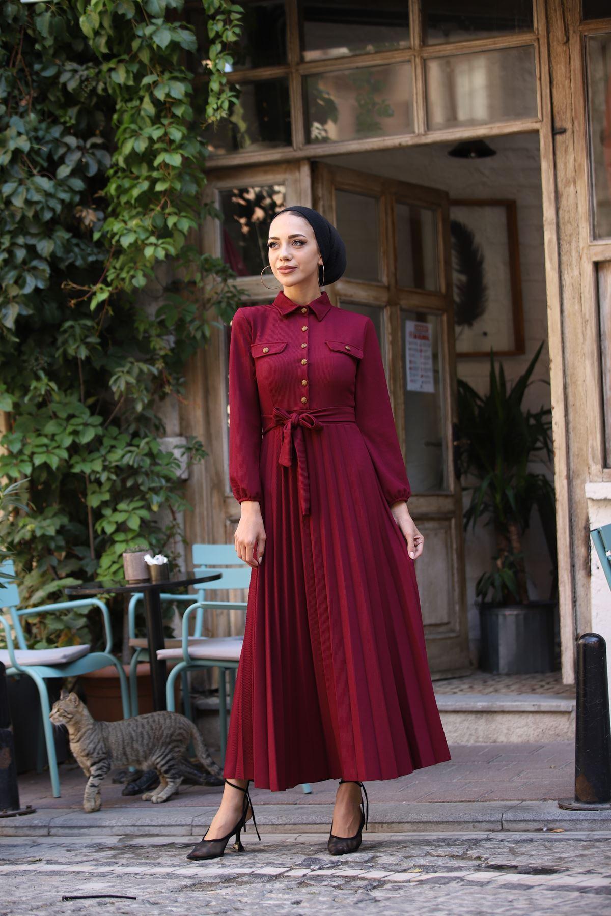 Gömlek Yaka Düğmel Elbise - Bordo