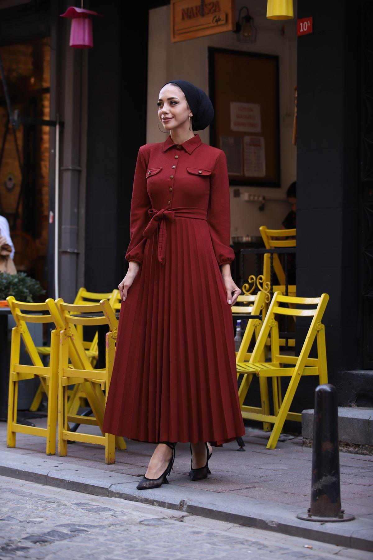 Gömlek Yaka Düğmel Elbise - Kiremit