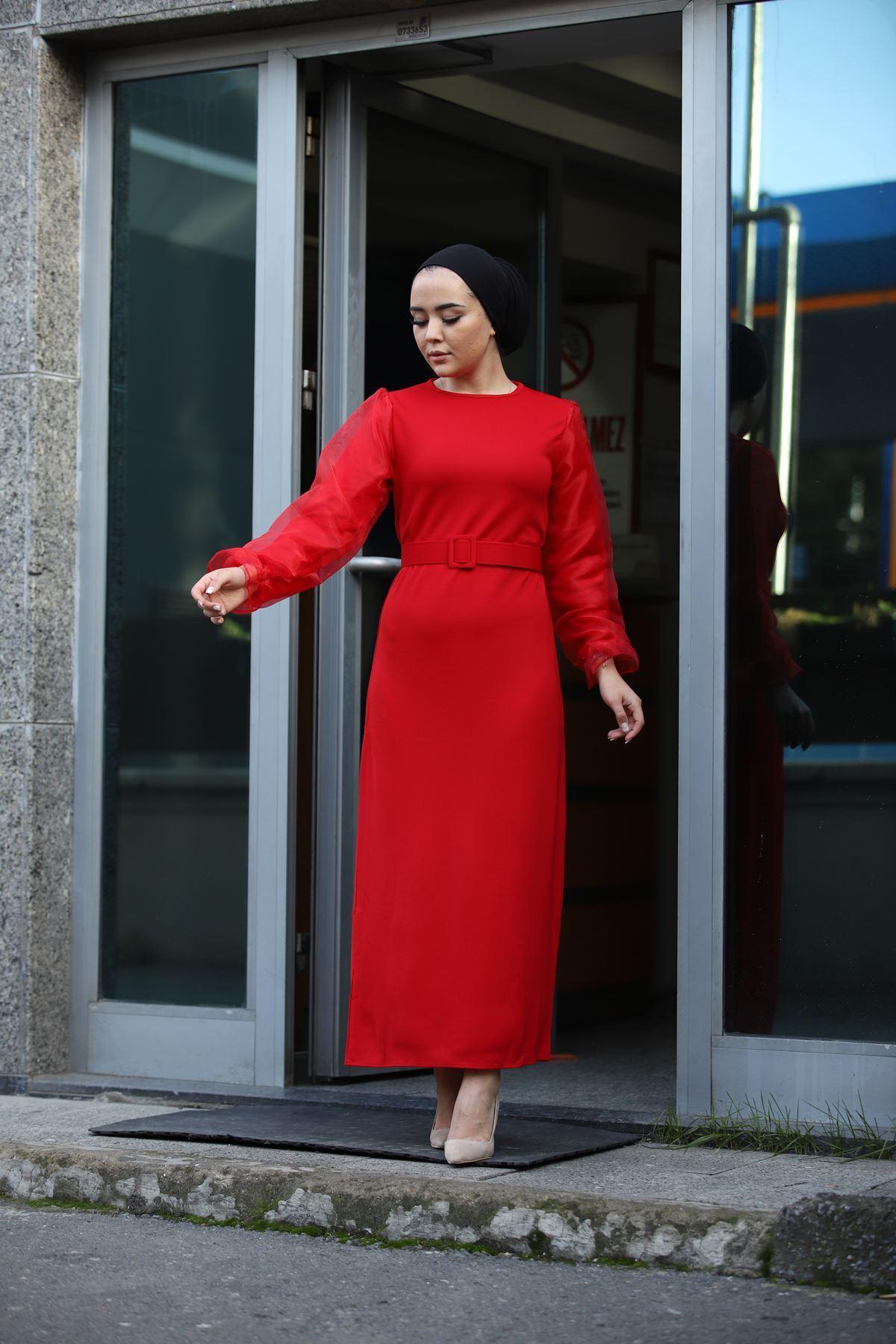 Organze Kol Tül Tesettür Elbise - Kırmızı