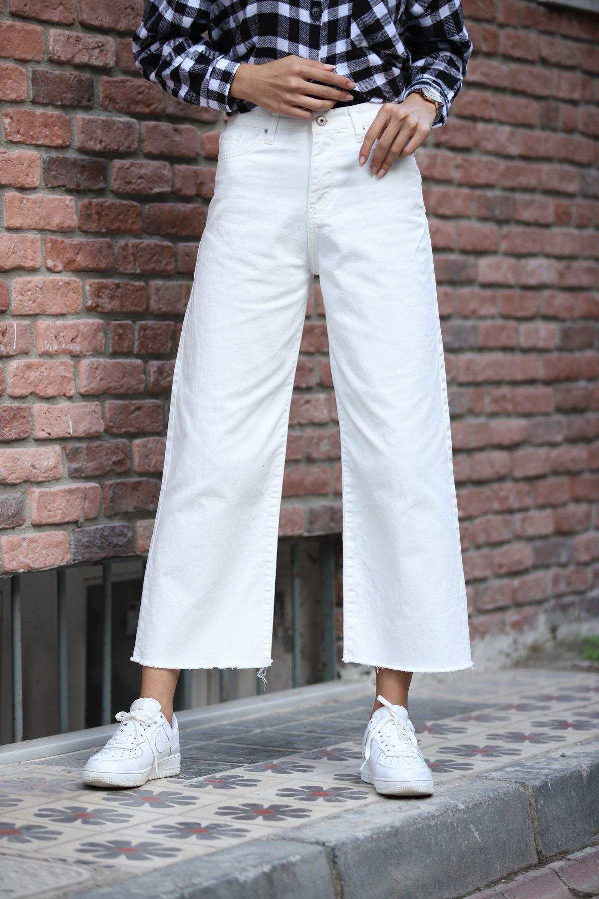 Salaş Kot Pantolon -Beyaz
