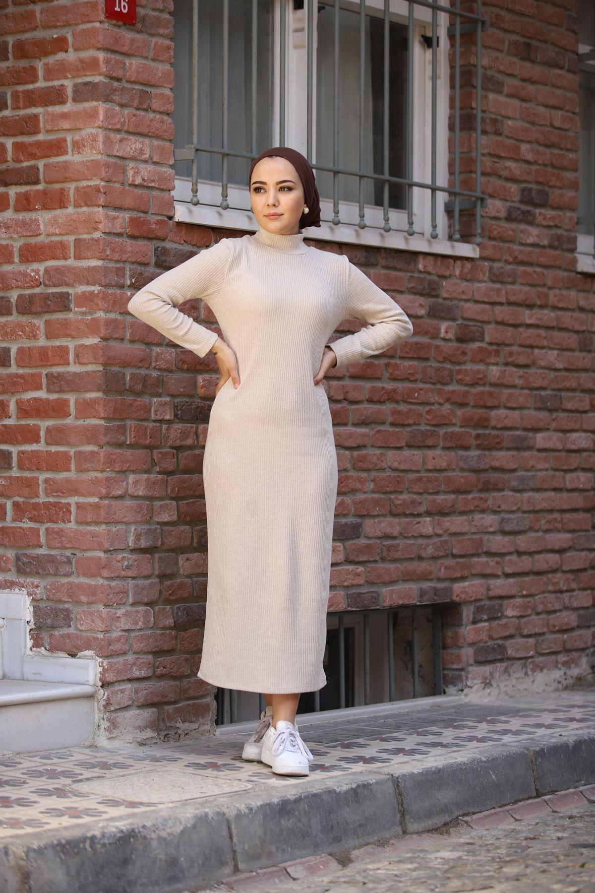 Fitilli Elbise - Taş