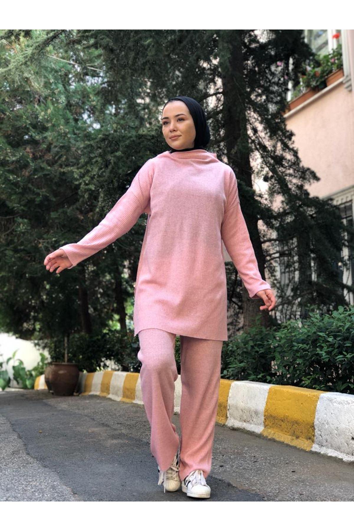 Pantolonlu Fitilli Takım - Pudra