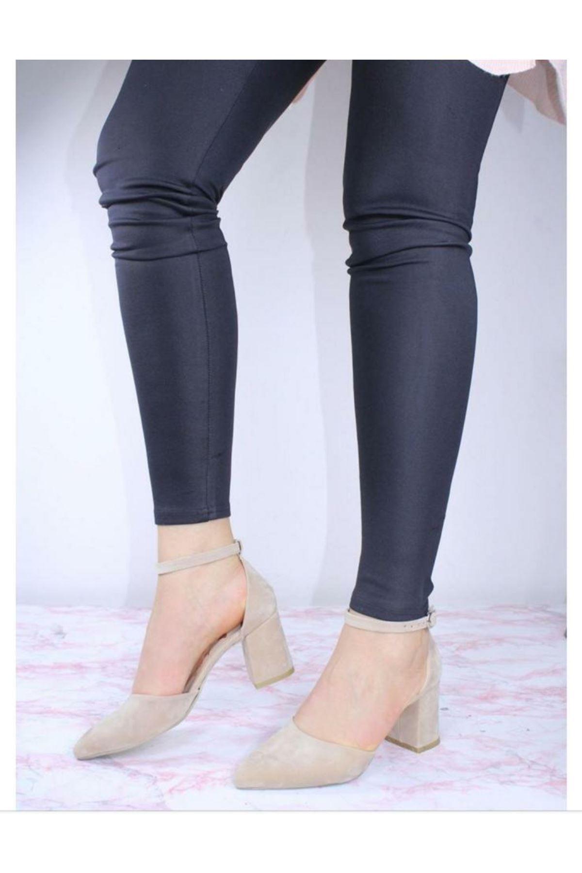 Kalın Topuklu Stiletto Ayakkabı - Bej
