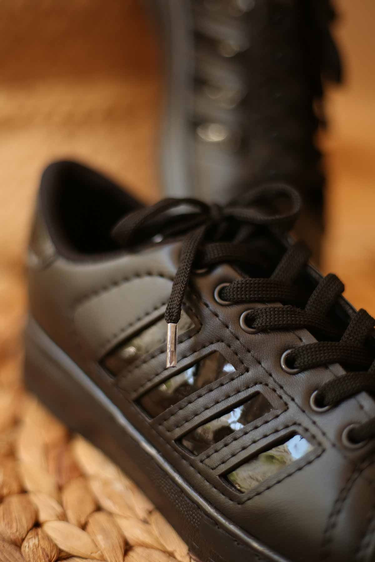 Süperstar Şeritli Spor Ayakkabı-Siyah