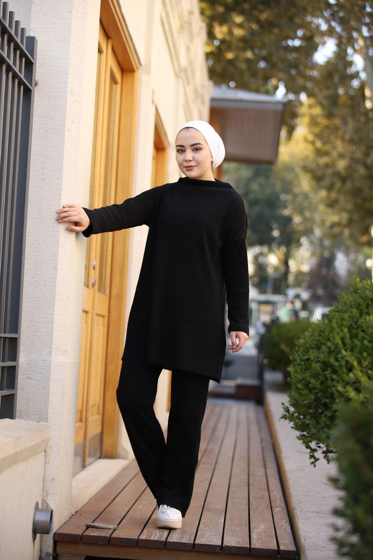 Pantolonlu Fitilli Takım - Siyah