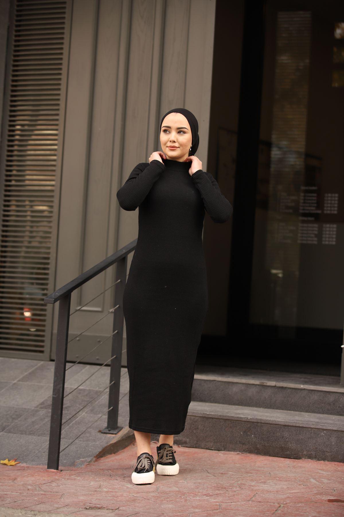 Fitilli Elbise - Siyah