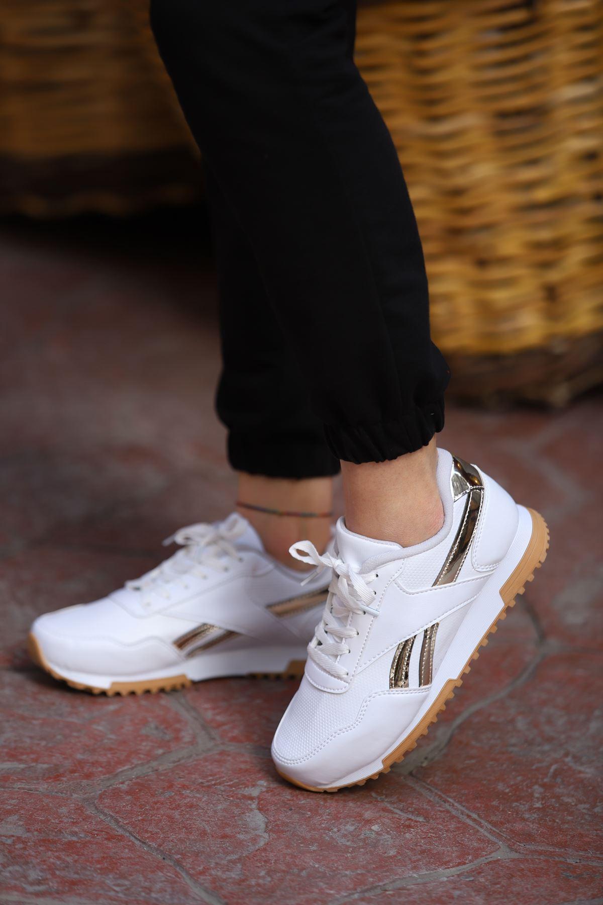 Platin Spor Ayakkabı - Altın-Beyaz