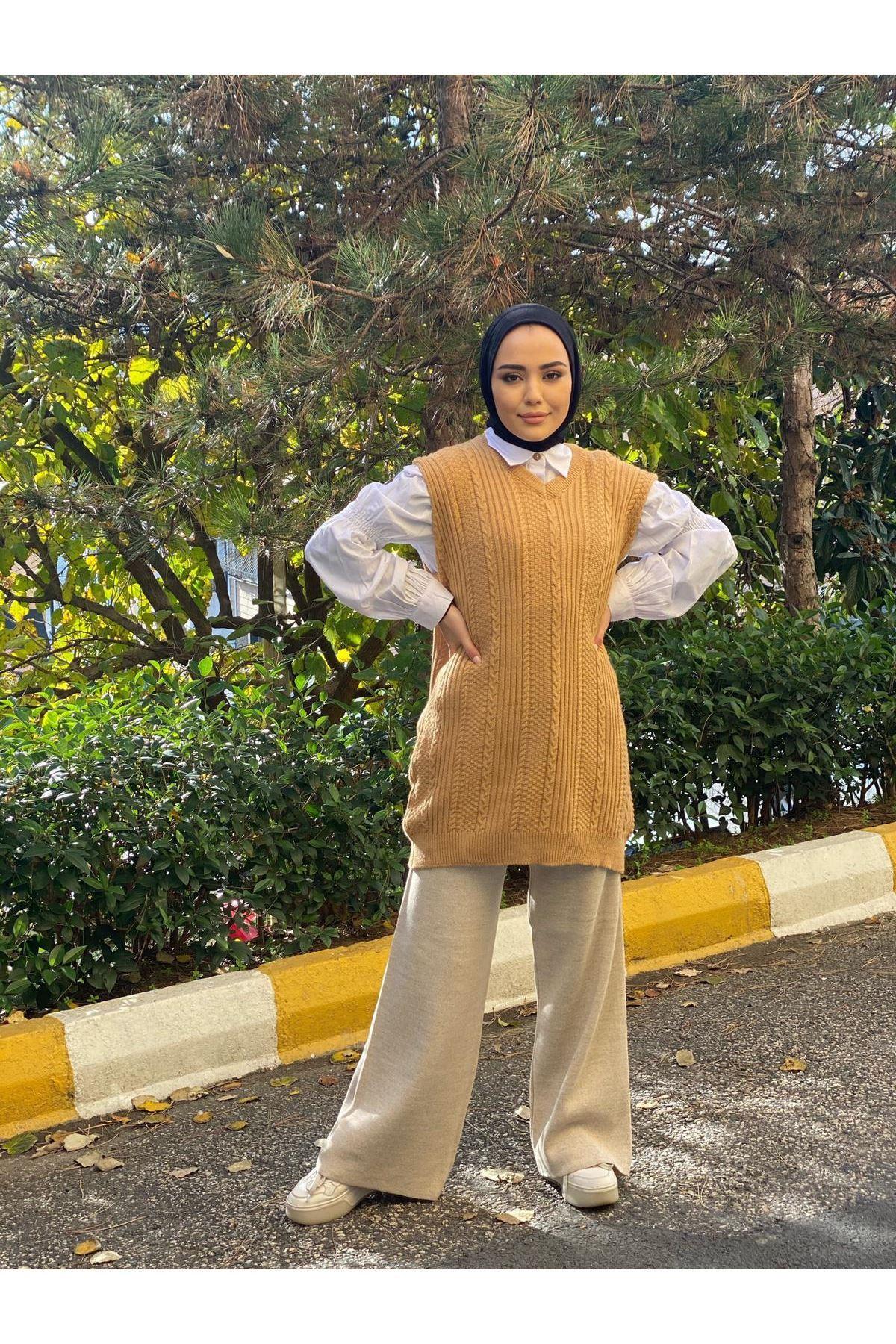 Triko Örme Süveter - Camel