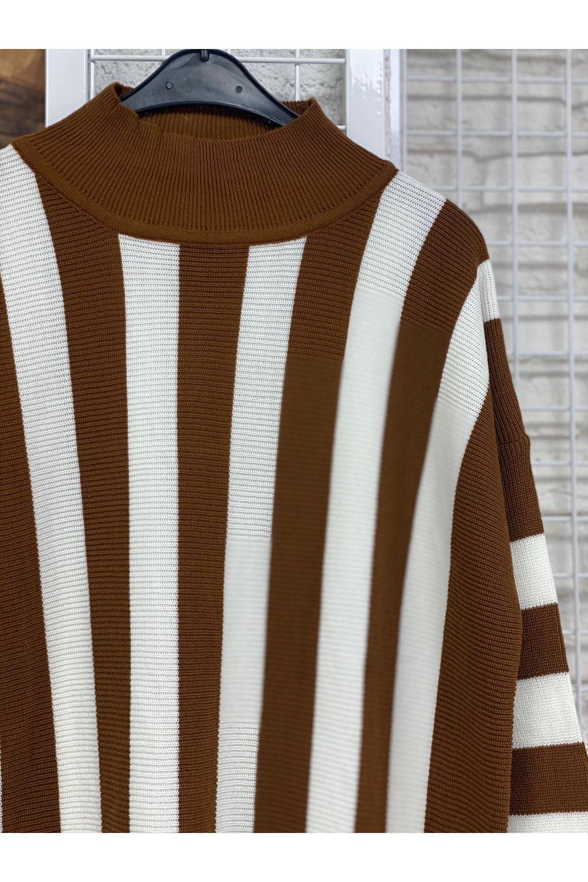 Çizgili Oversize Triko Tunik- Kahverengi-Beyaz