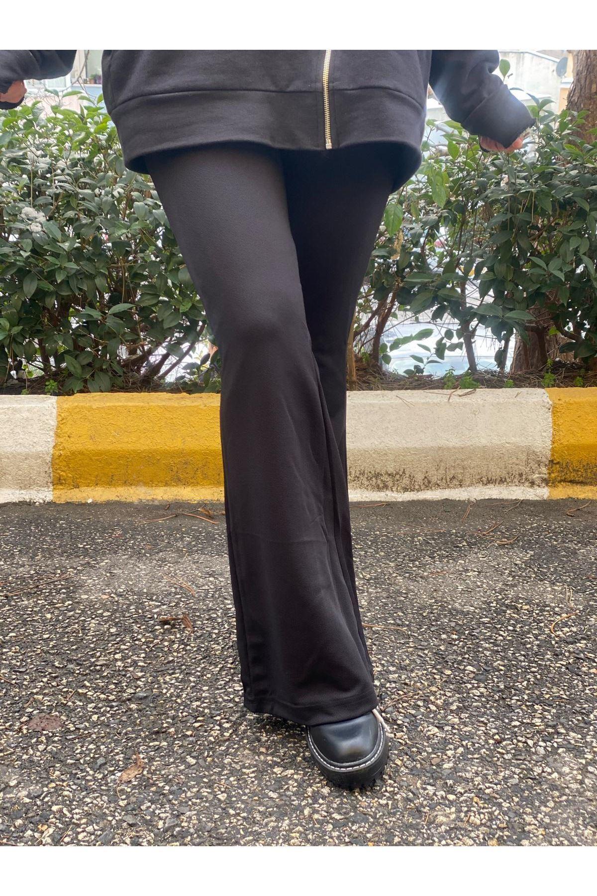 Likralı İspanyol Paça Pantolon- Siyah