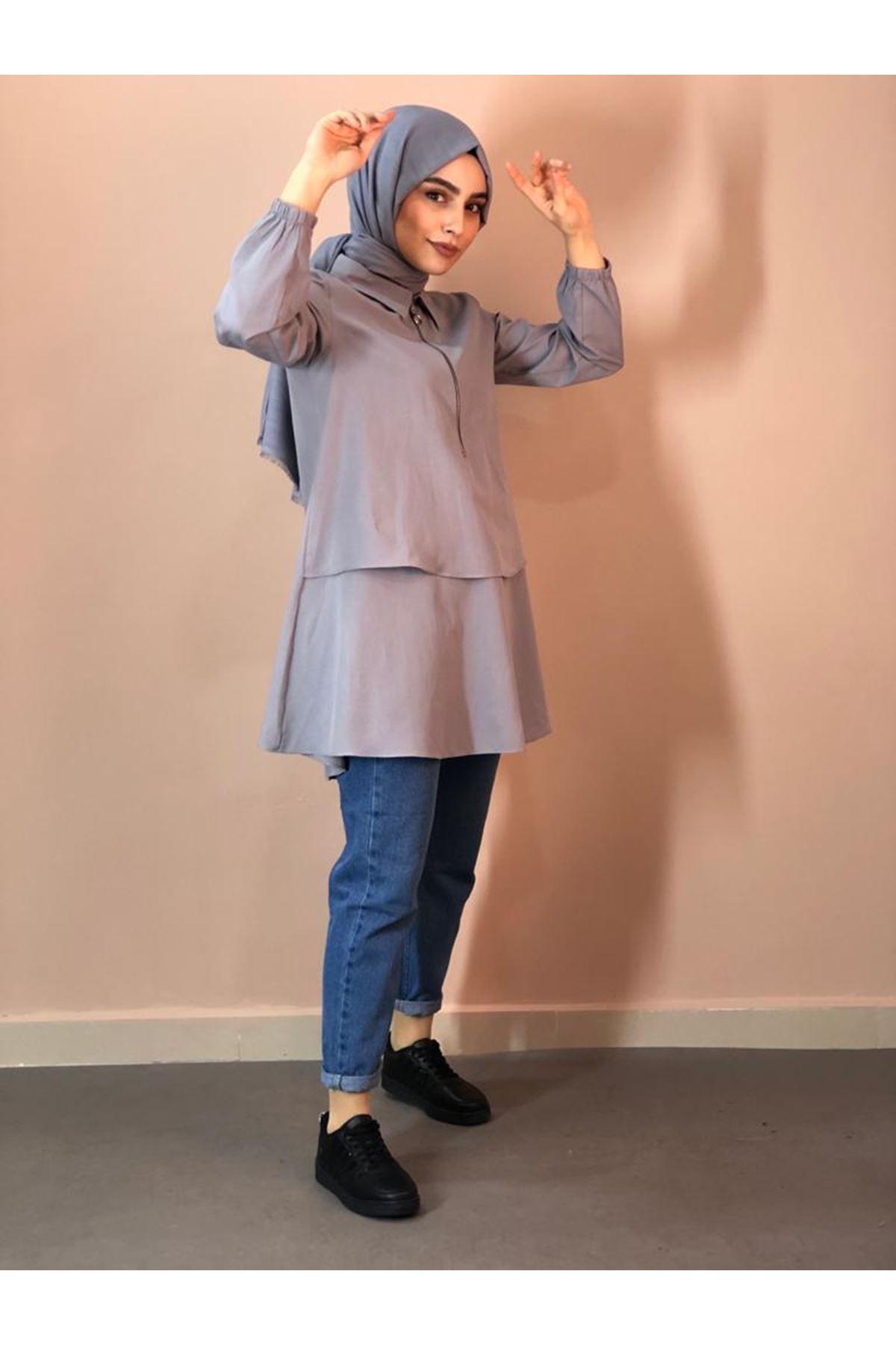 Fermuarlı Mevlana Gömlek - Gri