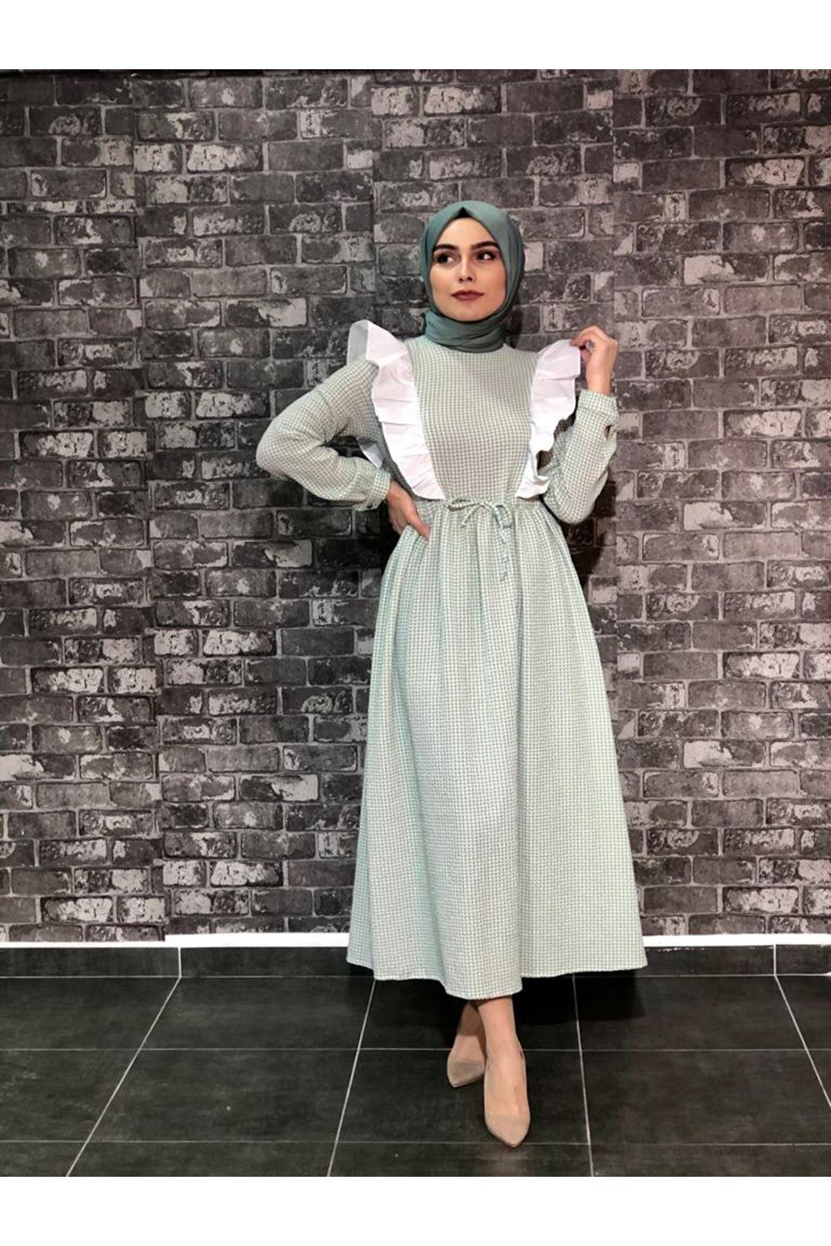 Fırfırlı Pötikare Elbise- Mint