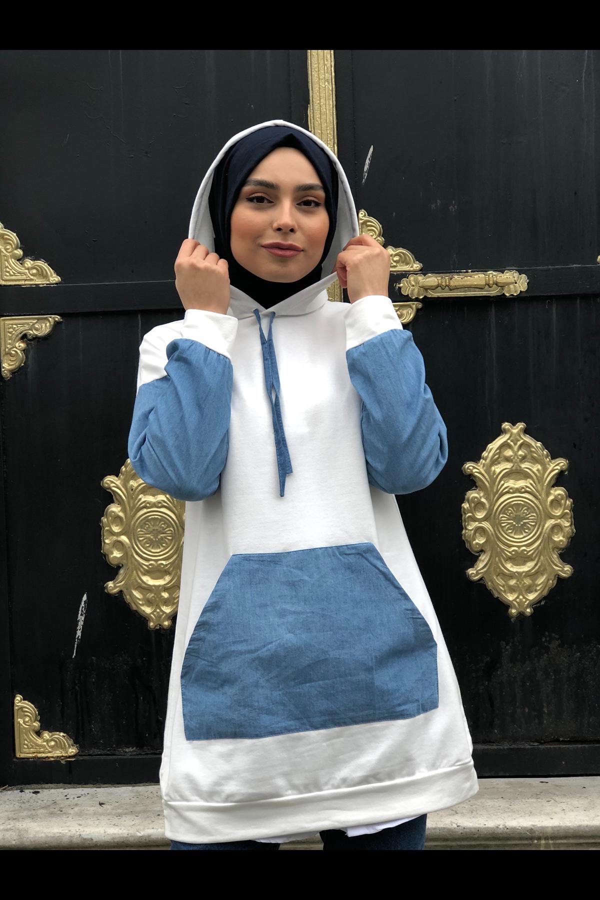 Kot Detaylı ı Sweatshirt- BEYAZ