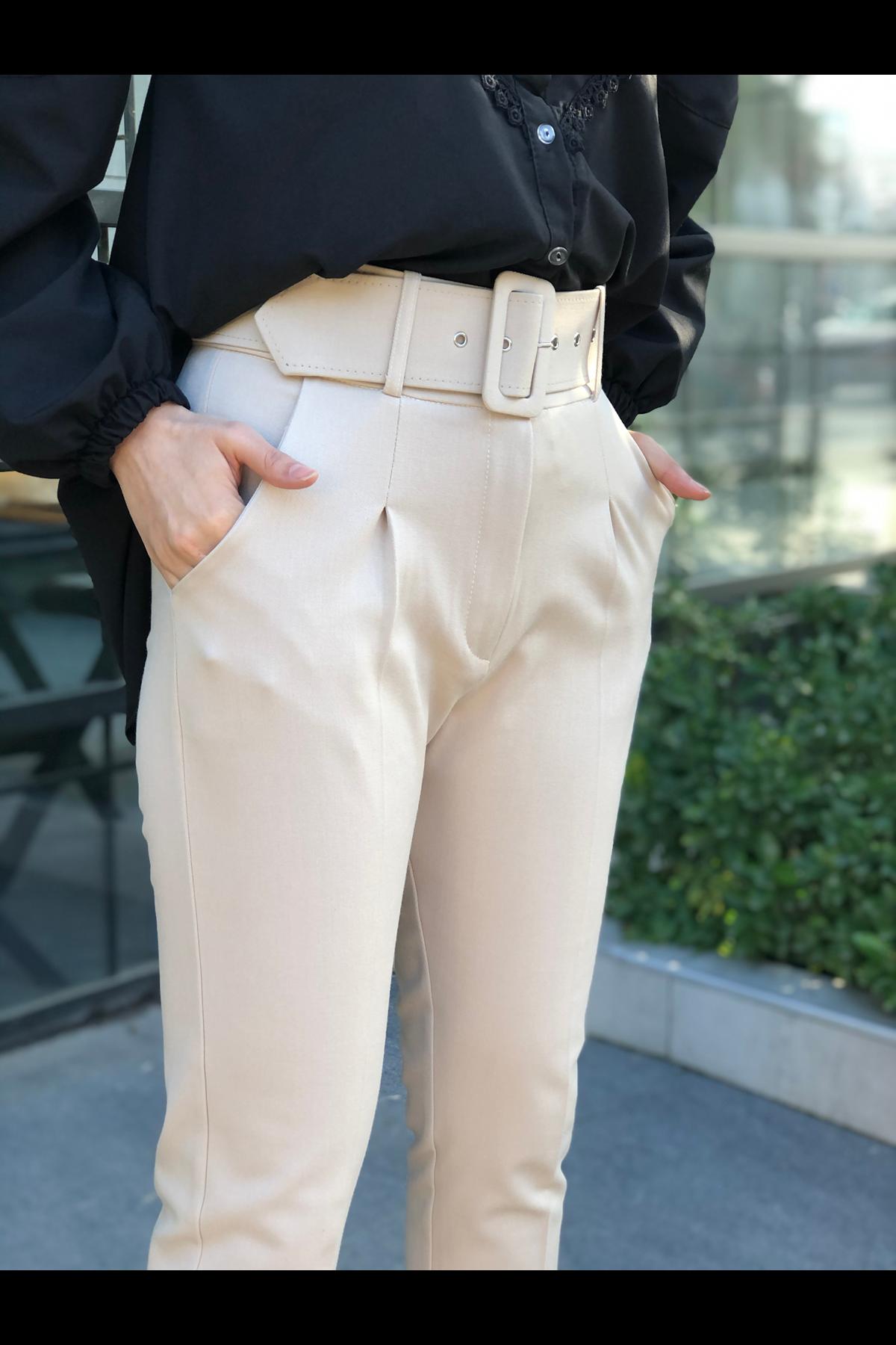 Kemerli Keten Pantolon- KREM