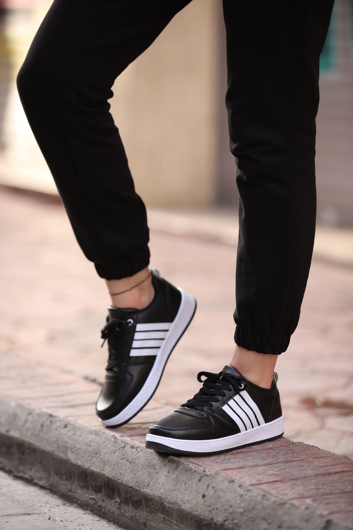 Justing Spor Ayakkabı - Siyah-Beyaz