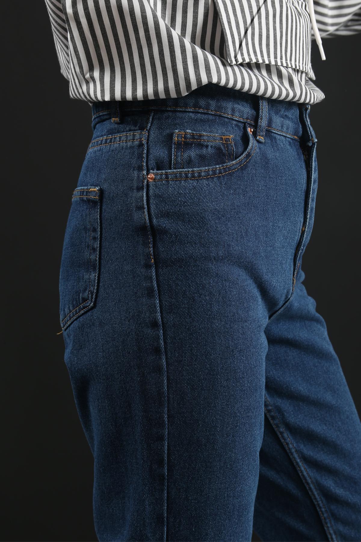 Yüksek Bel Mom Jeans-LACİVERT