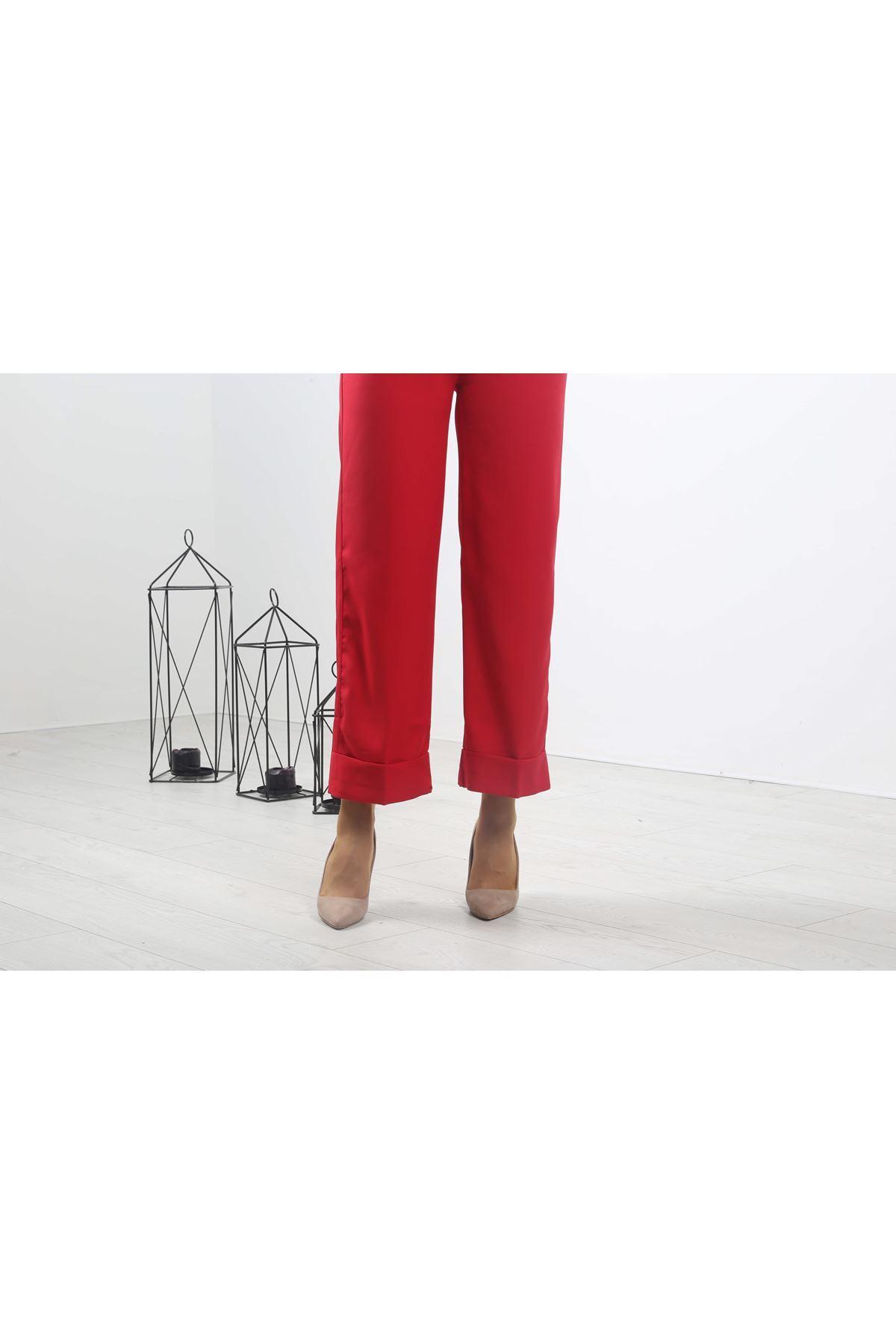 Copy of Duble Paça Pantolon - Kırmızı