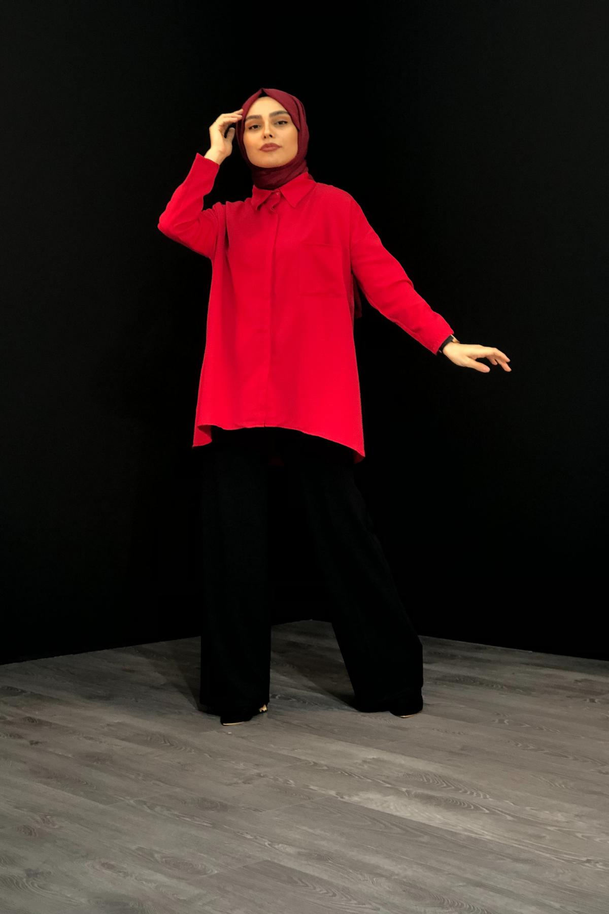 Cepli  Tesettür Gömlek - Kırmızı
