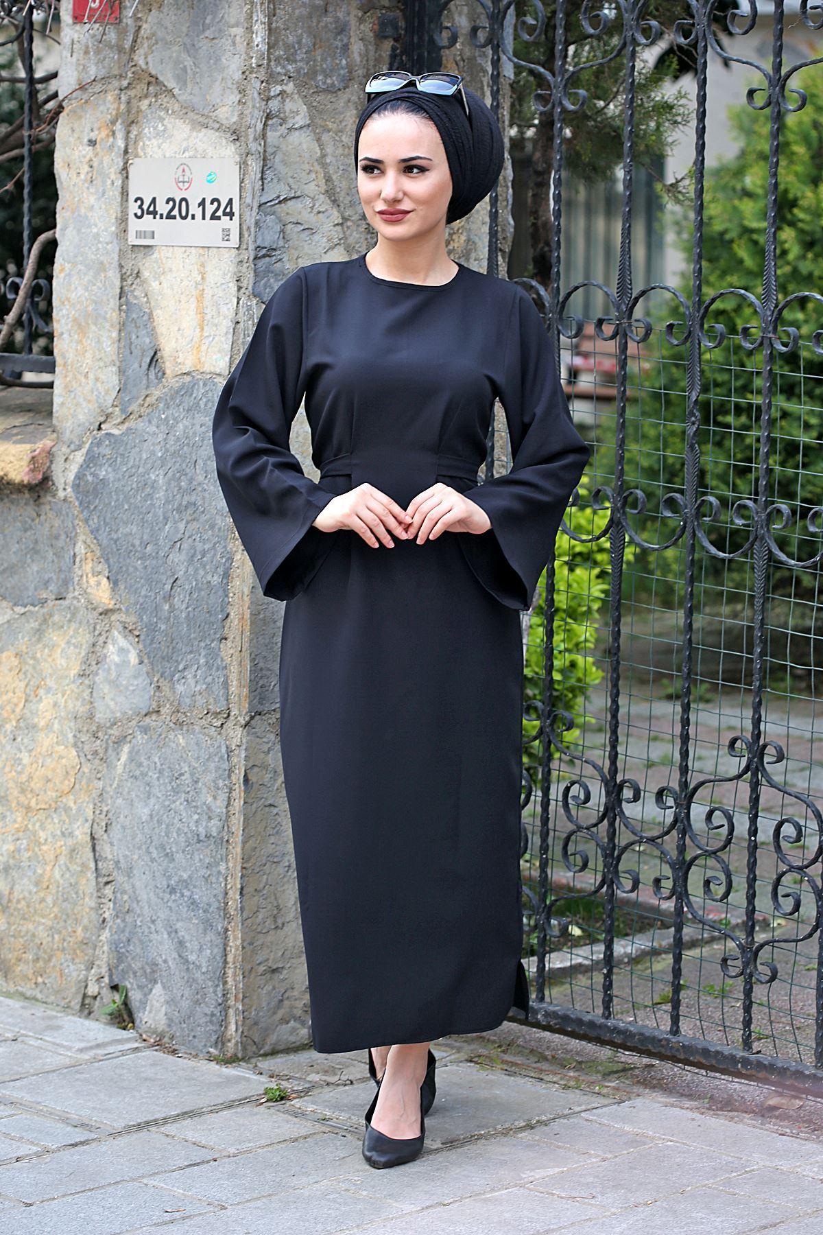 Bel Bağlamalı Kalem Elbise-Siyah